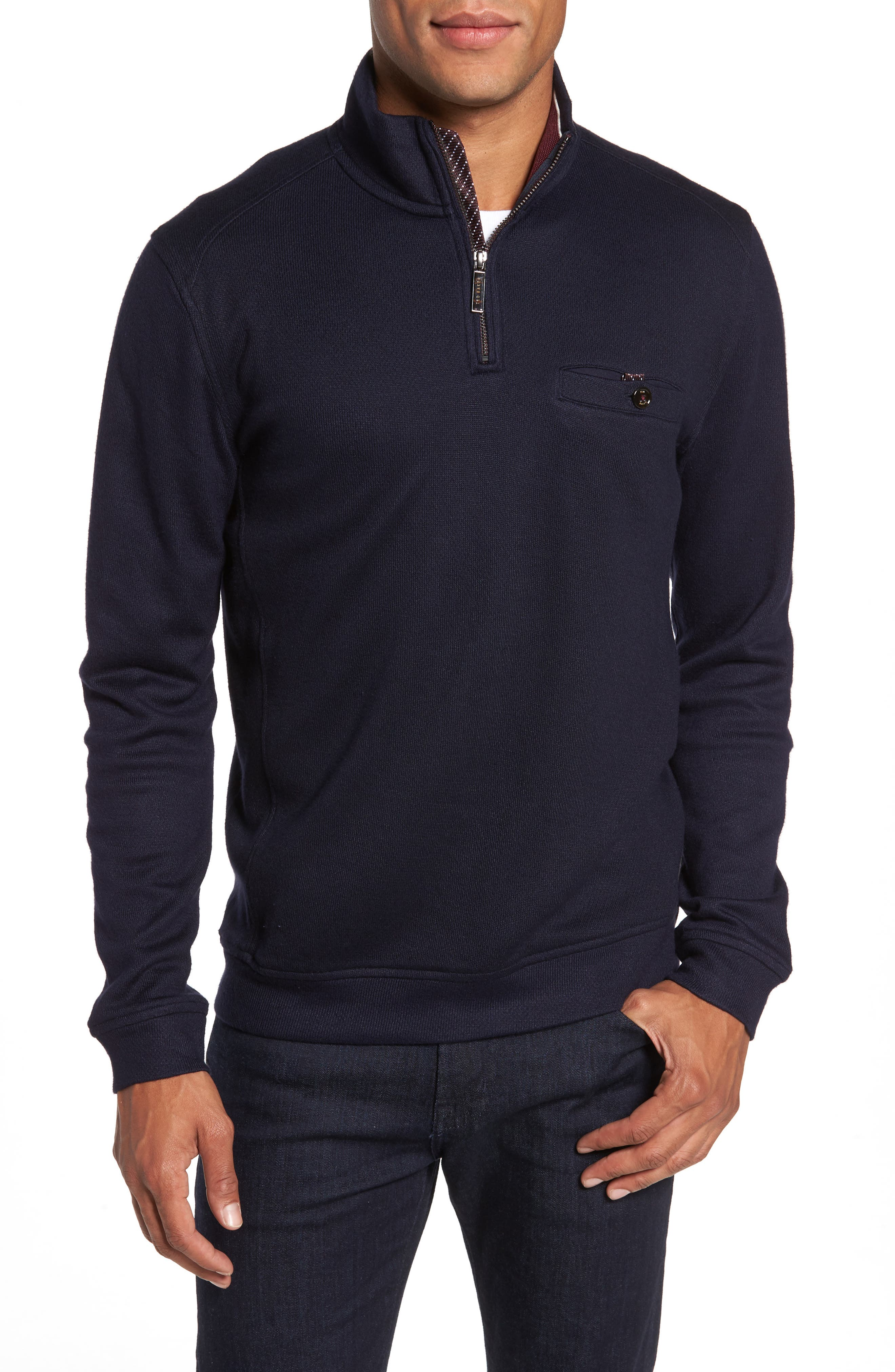 Dotkot Slim Fit Quarter Zip Pullover,                         Main,                         color, Navy