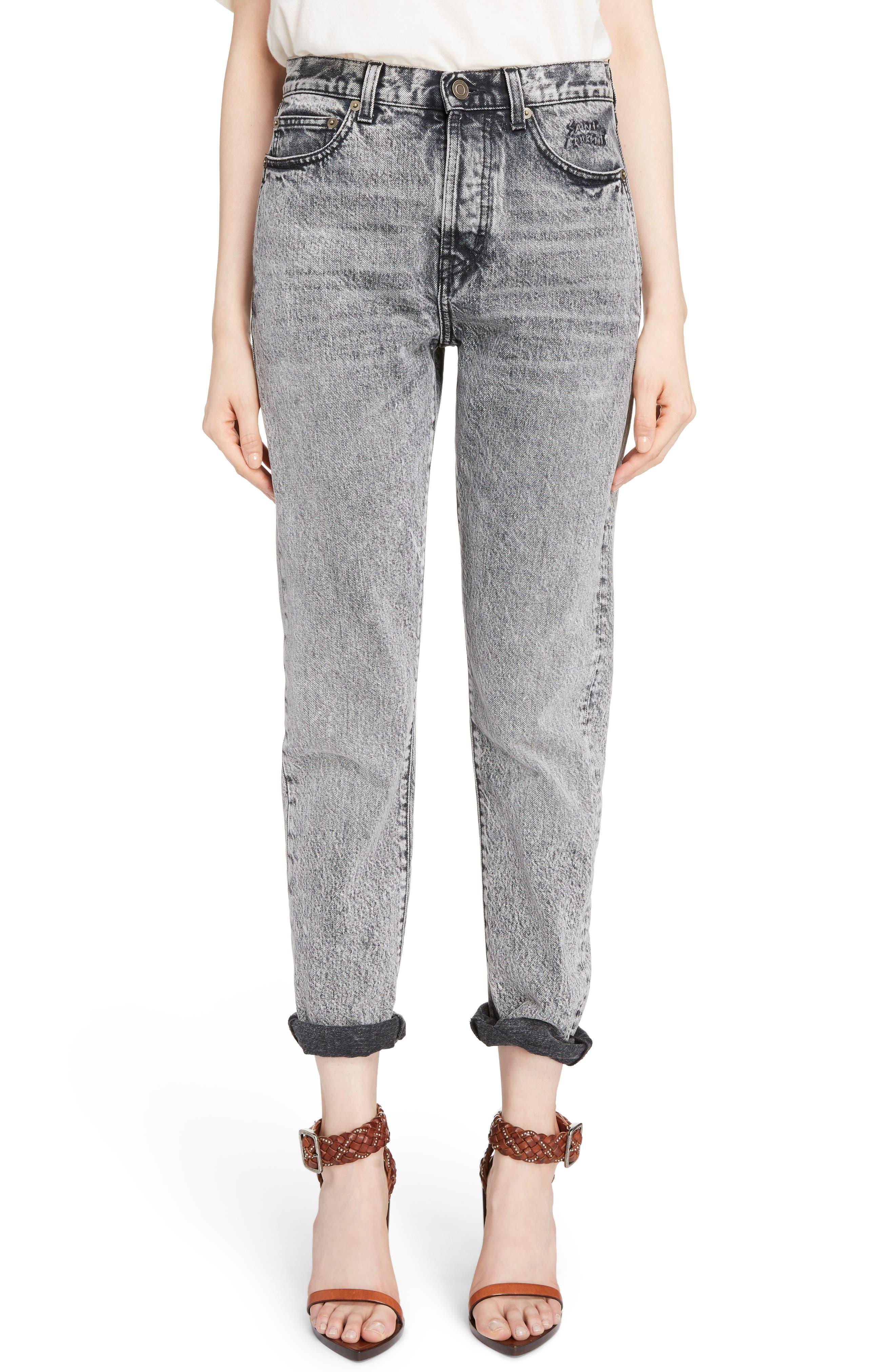 Embroidered Logo Slim Boyfriend Jeans,                         Main,                         color, Black Snow Wash