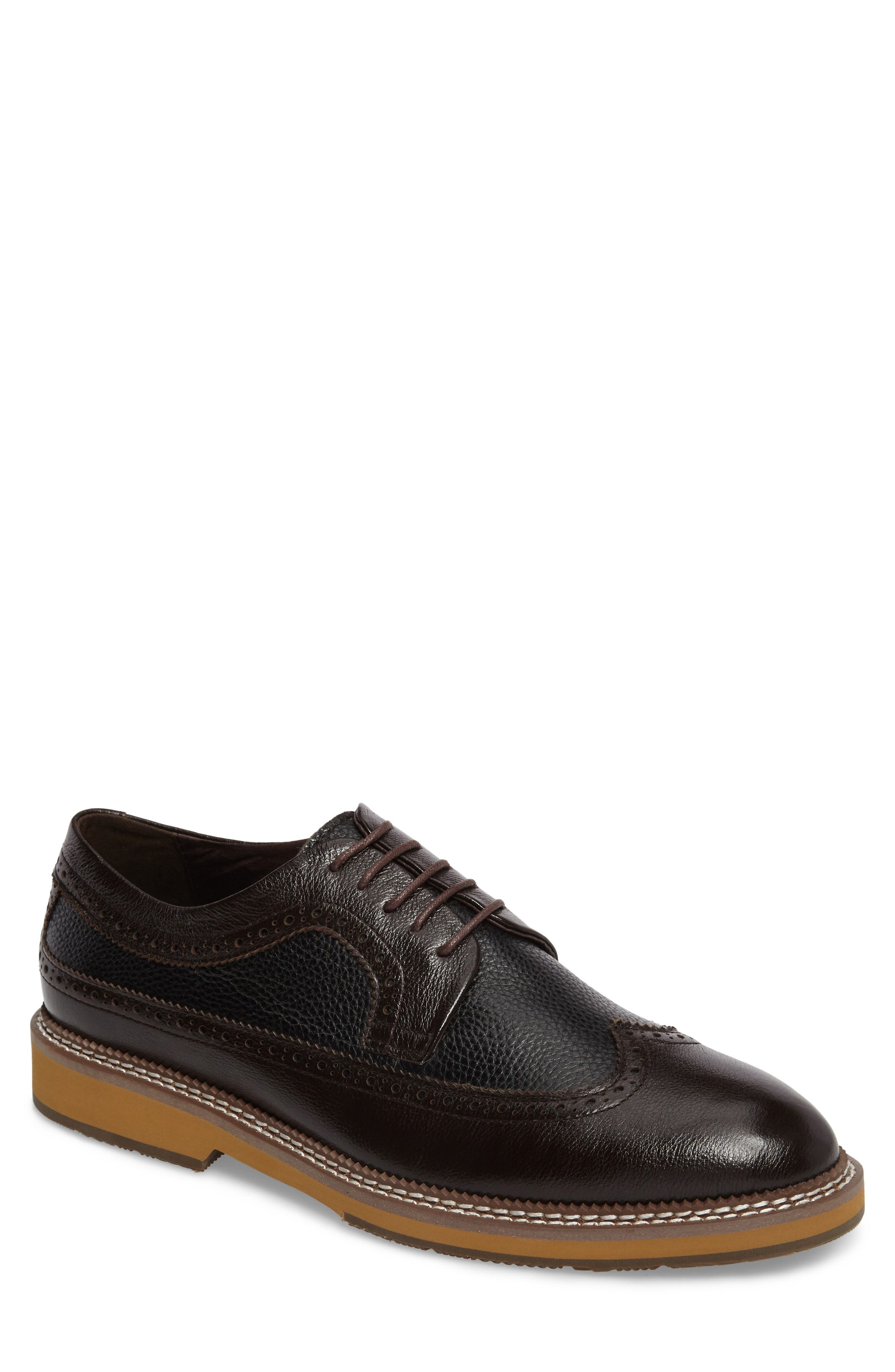 Fouquet Wingtip Derby,                         Main,                         color, Brown Leather
