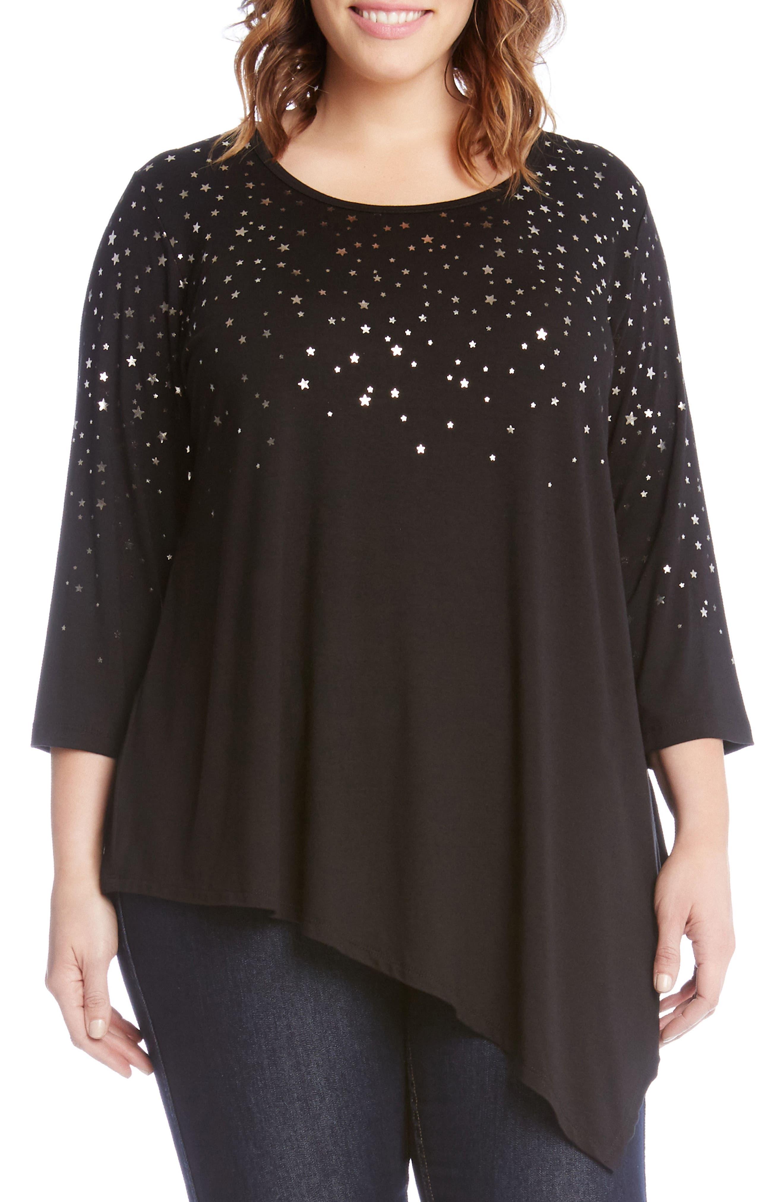 Main Image - Karen Kane Falling Stars Asymmetrical Top (Plus Size)