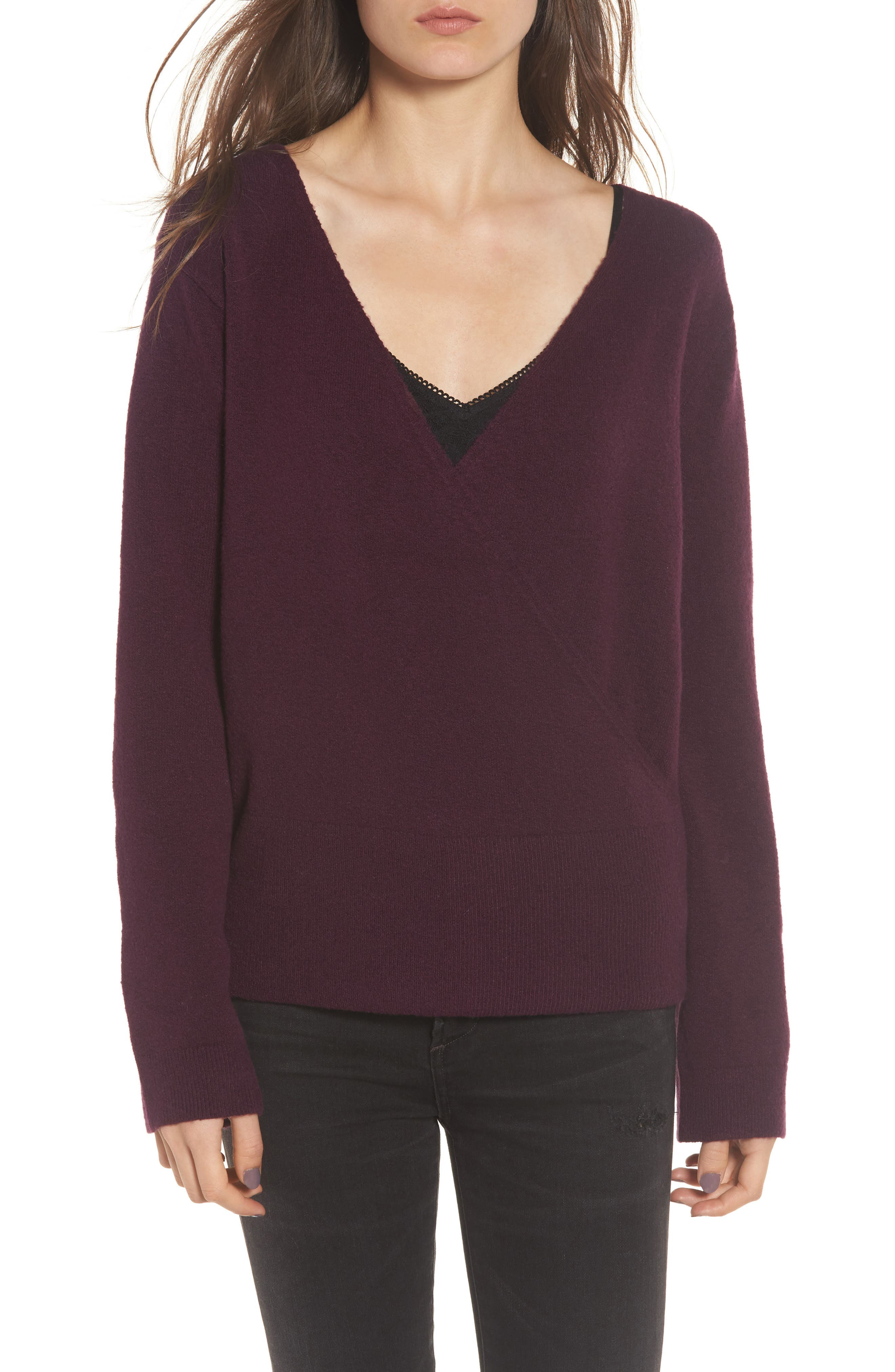 Faux Wrap Sweater,                         Main,                         color, Purple Potent