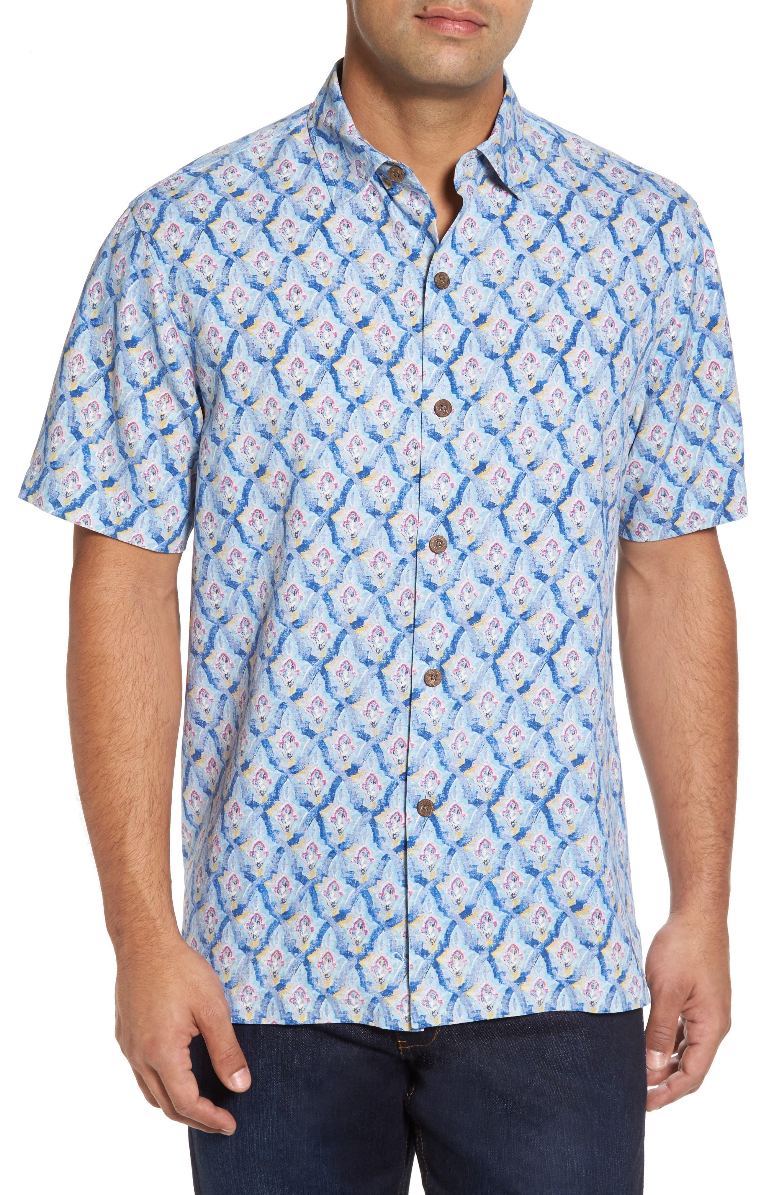 Tommy Bahama Alcazar Tiles Silk Camp Shirt (Big & Tall)