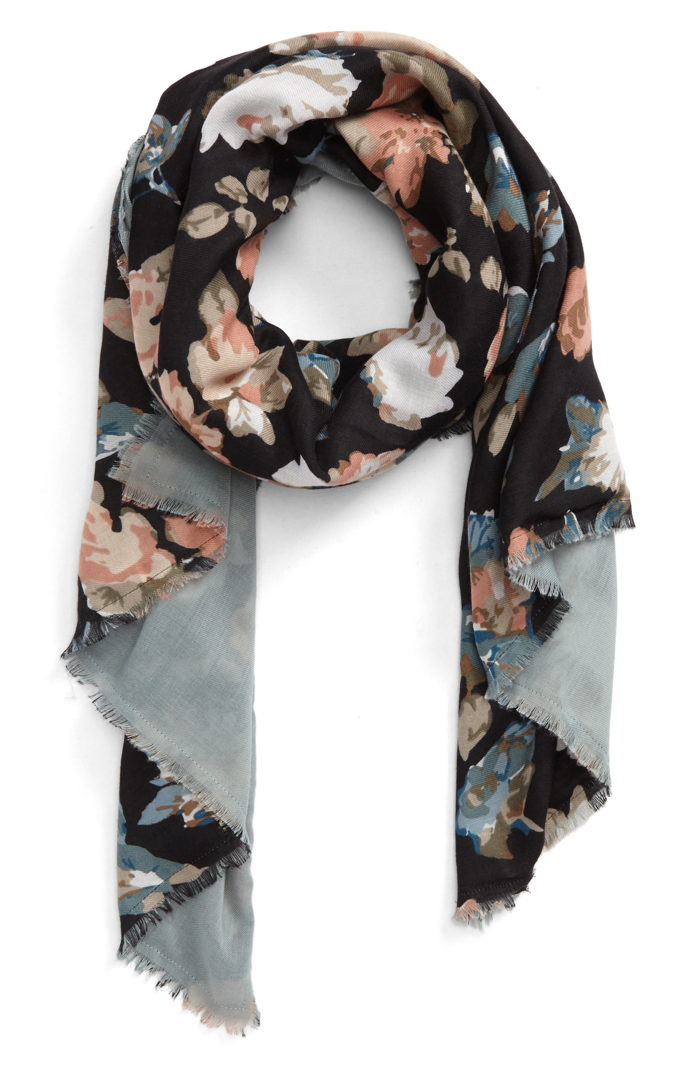 Reversible Floral Scarf,                             Main thumbnail 1, color,                             Grey Multi