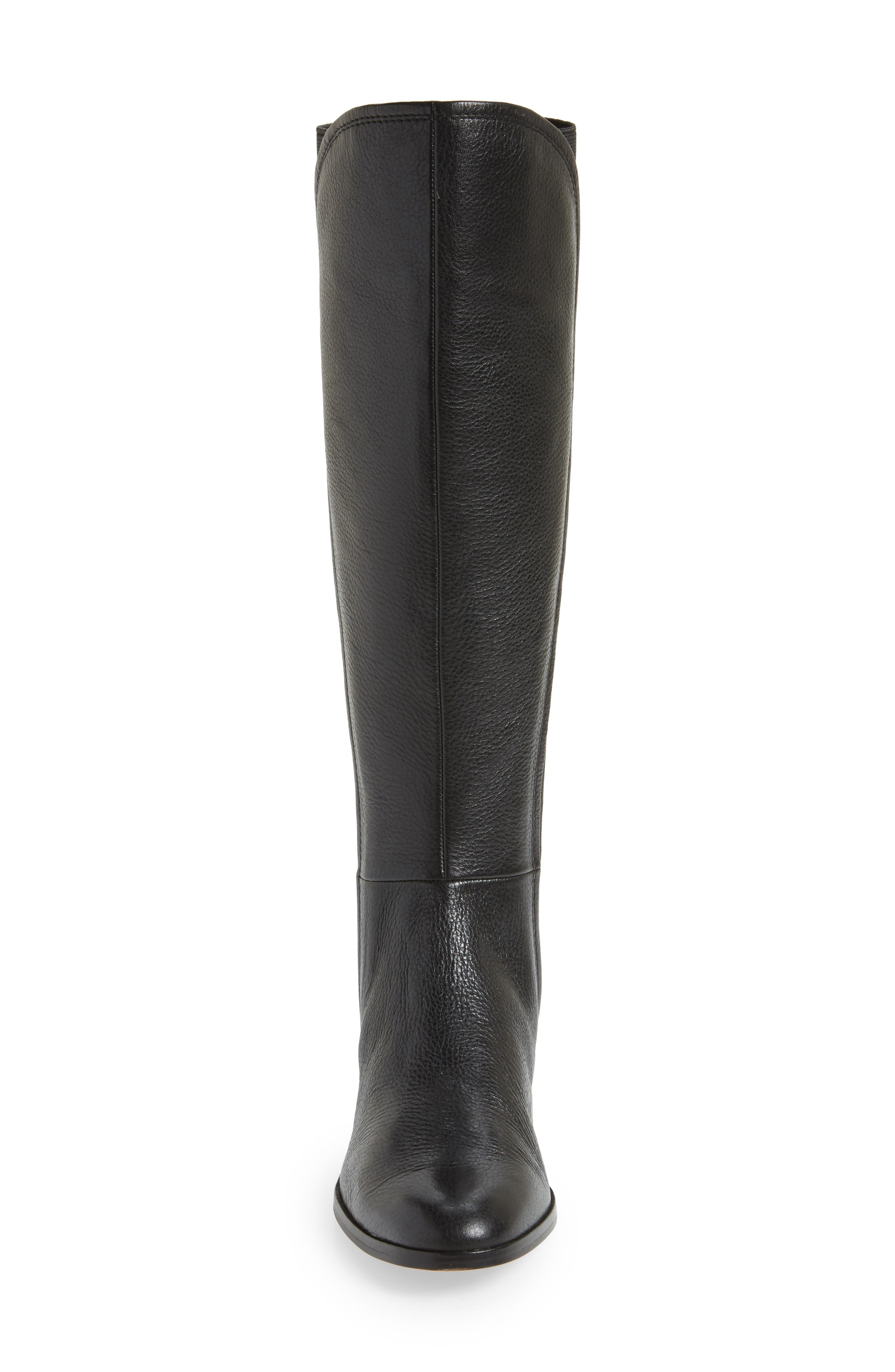 Vallery Elastic Back Knee High Boot,                             Alternate thumbnail 4, color,                             Black Nappa Leather