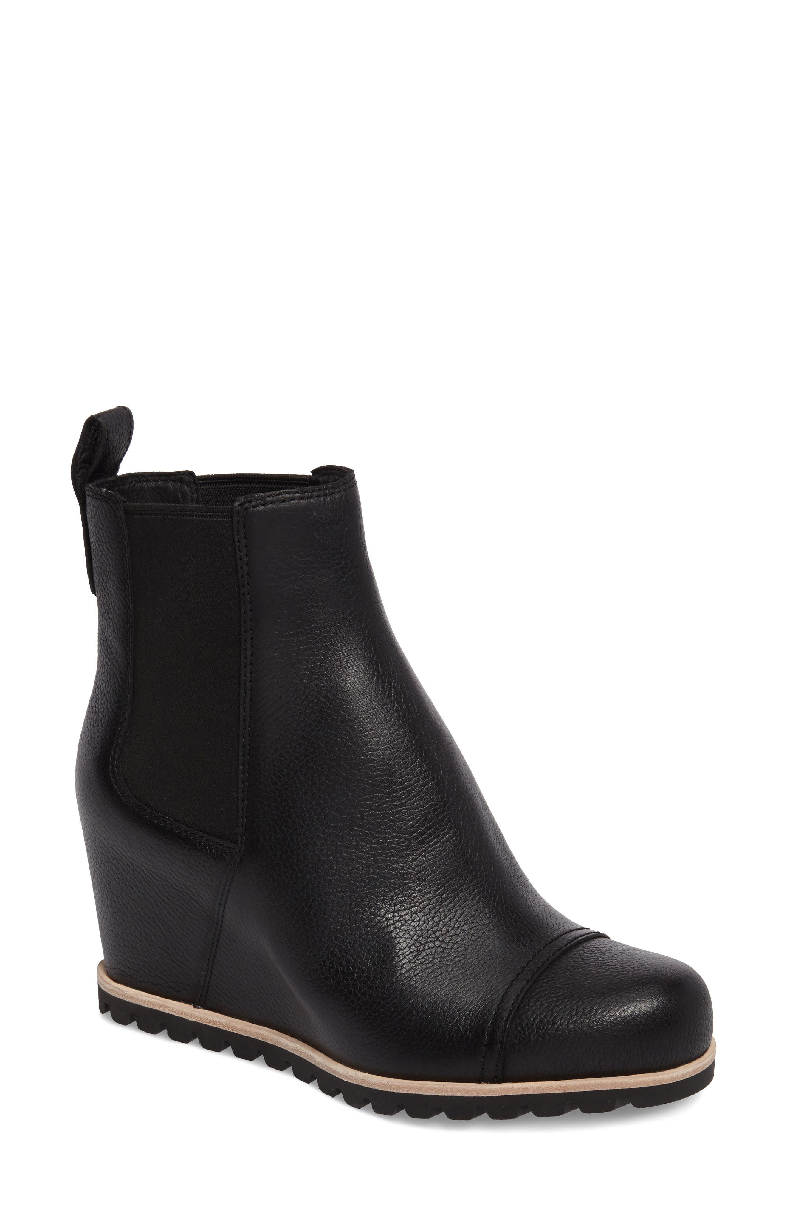 Pax Waterproof Wedge Boot,                         Main,                         color, Black Leather