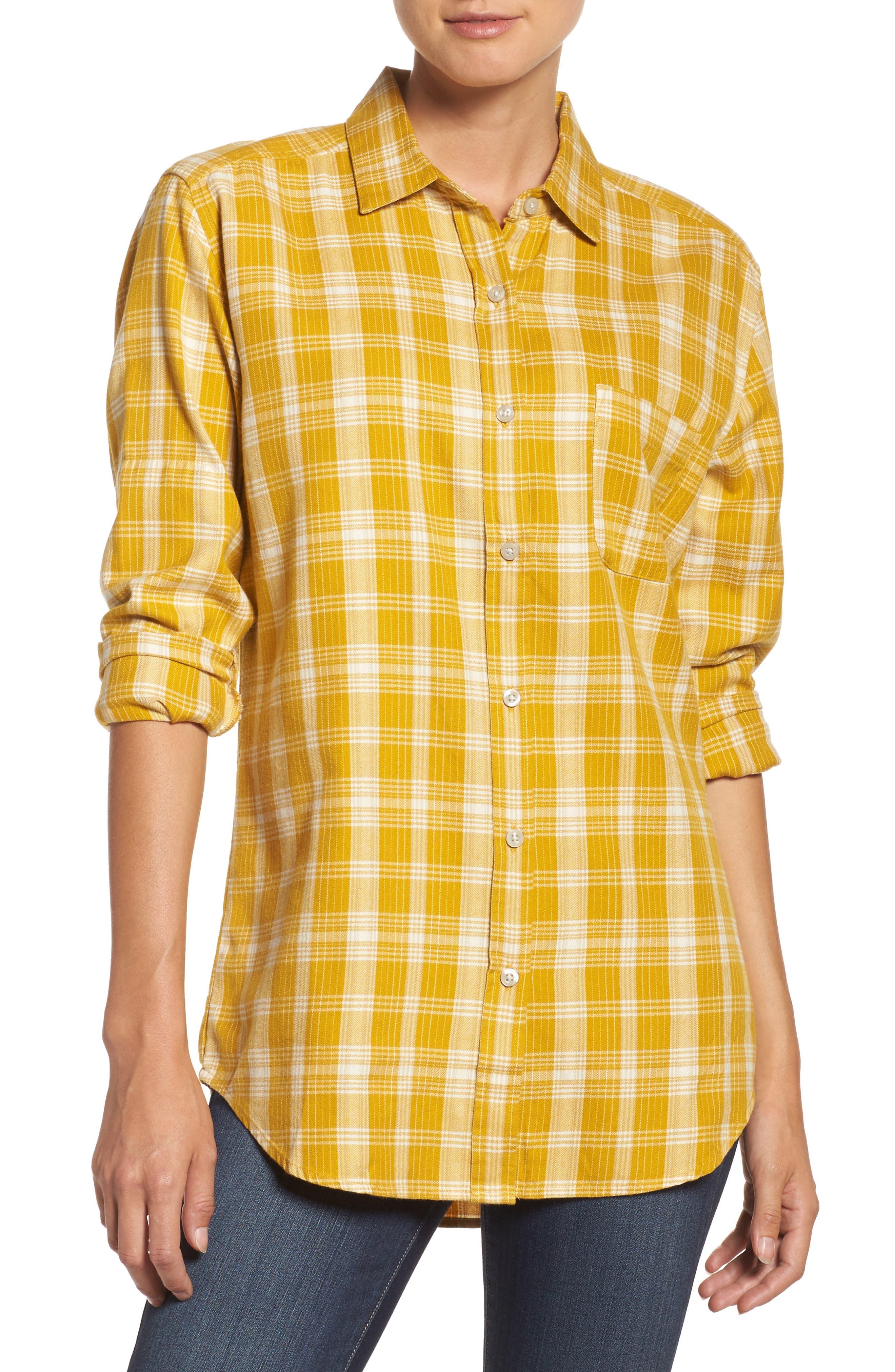 Boyfriend Shirt,                             Main thumbnail 1, color,                             Arrowwood Yellow Plaid