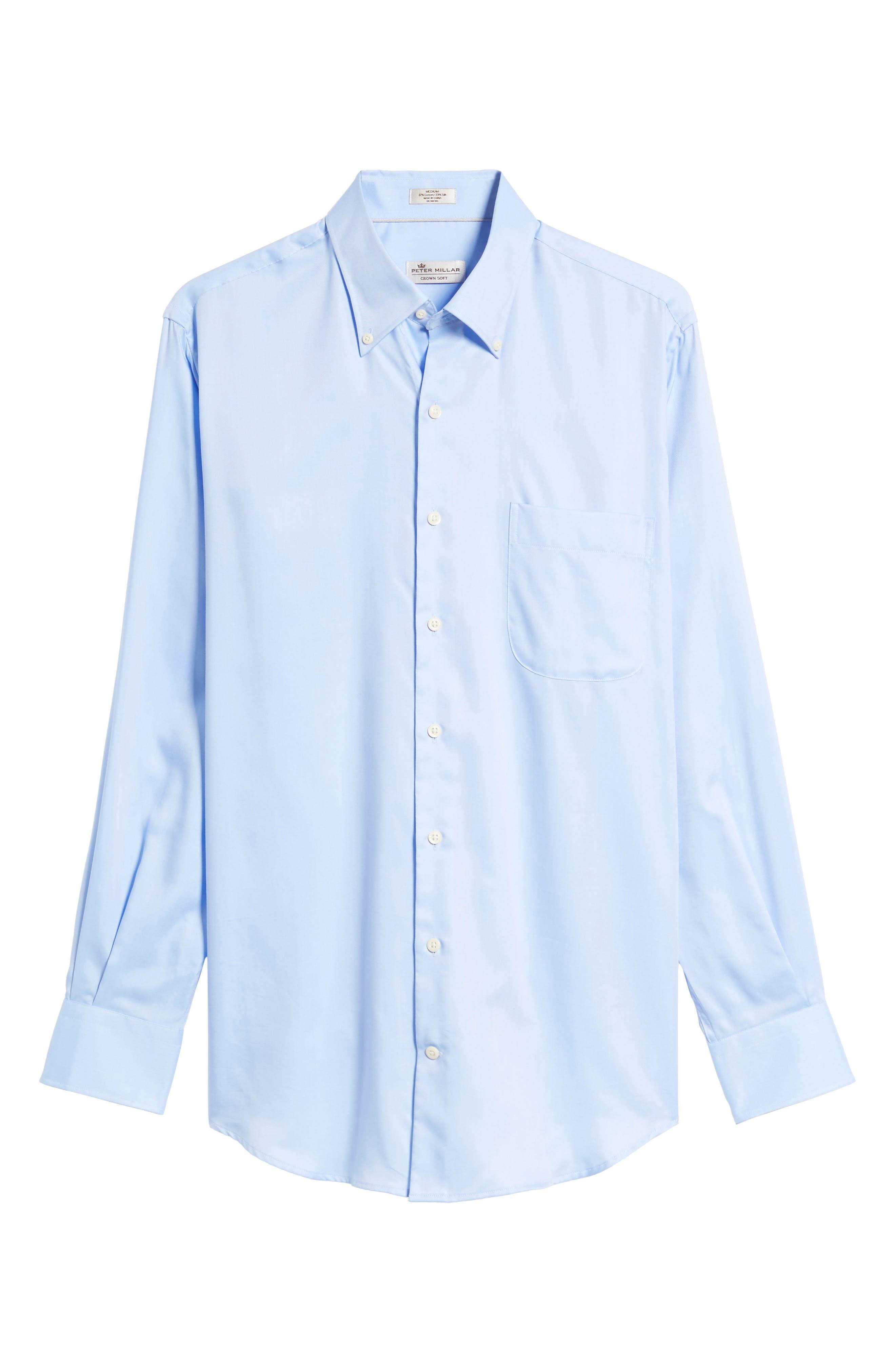 Alternate Image 6  - Peter Millar Crown Soft Pinpoint Regular Fit Sport Shirt