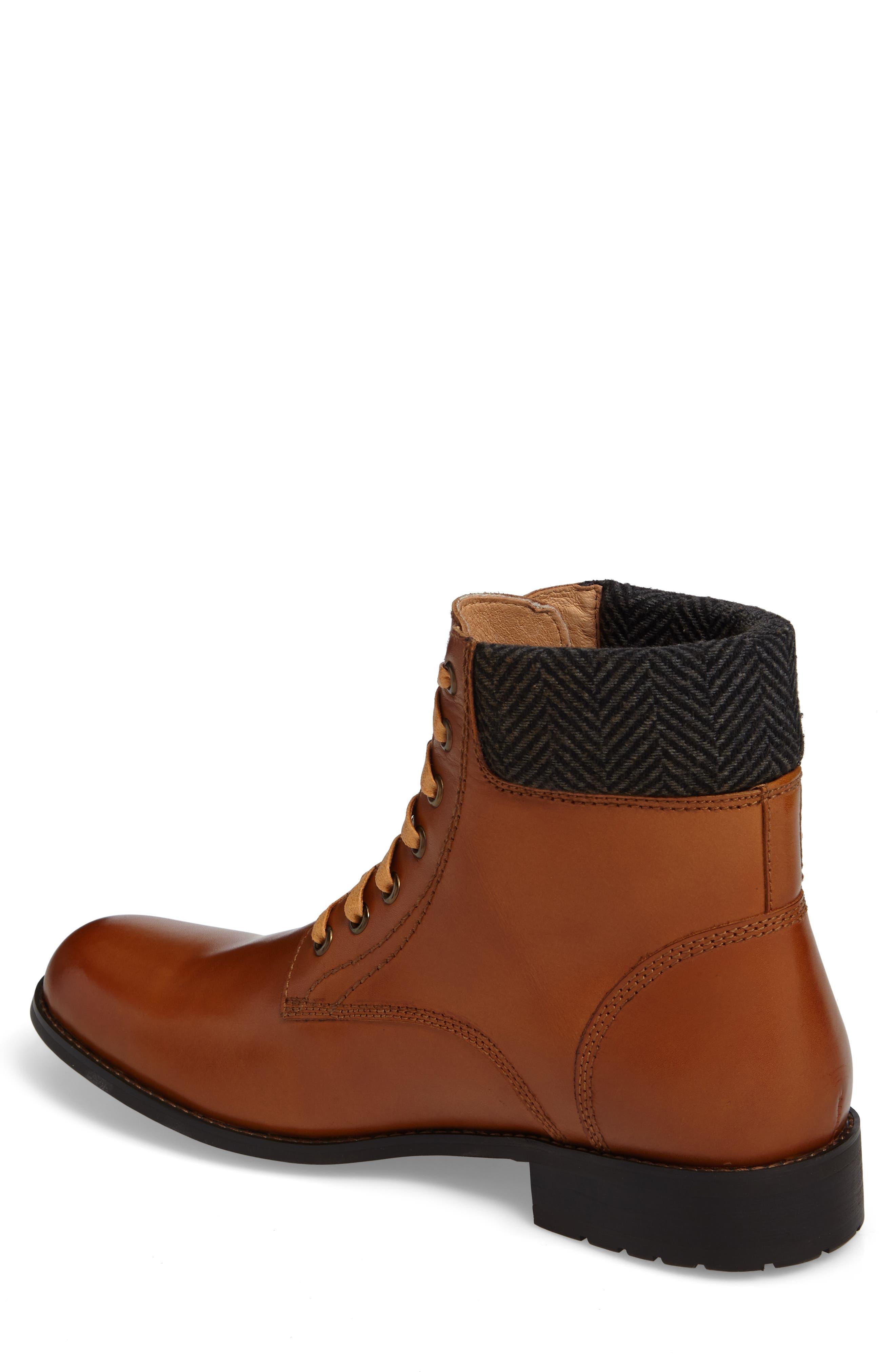 Saar Plain Toe Boot,                             Alternate thumbnail 2, color,                             Cognac Leather