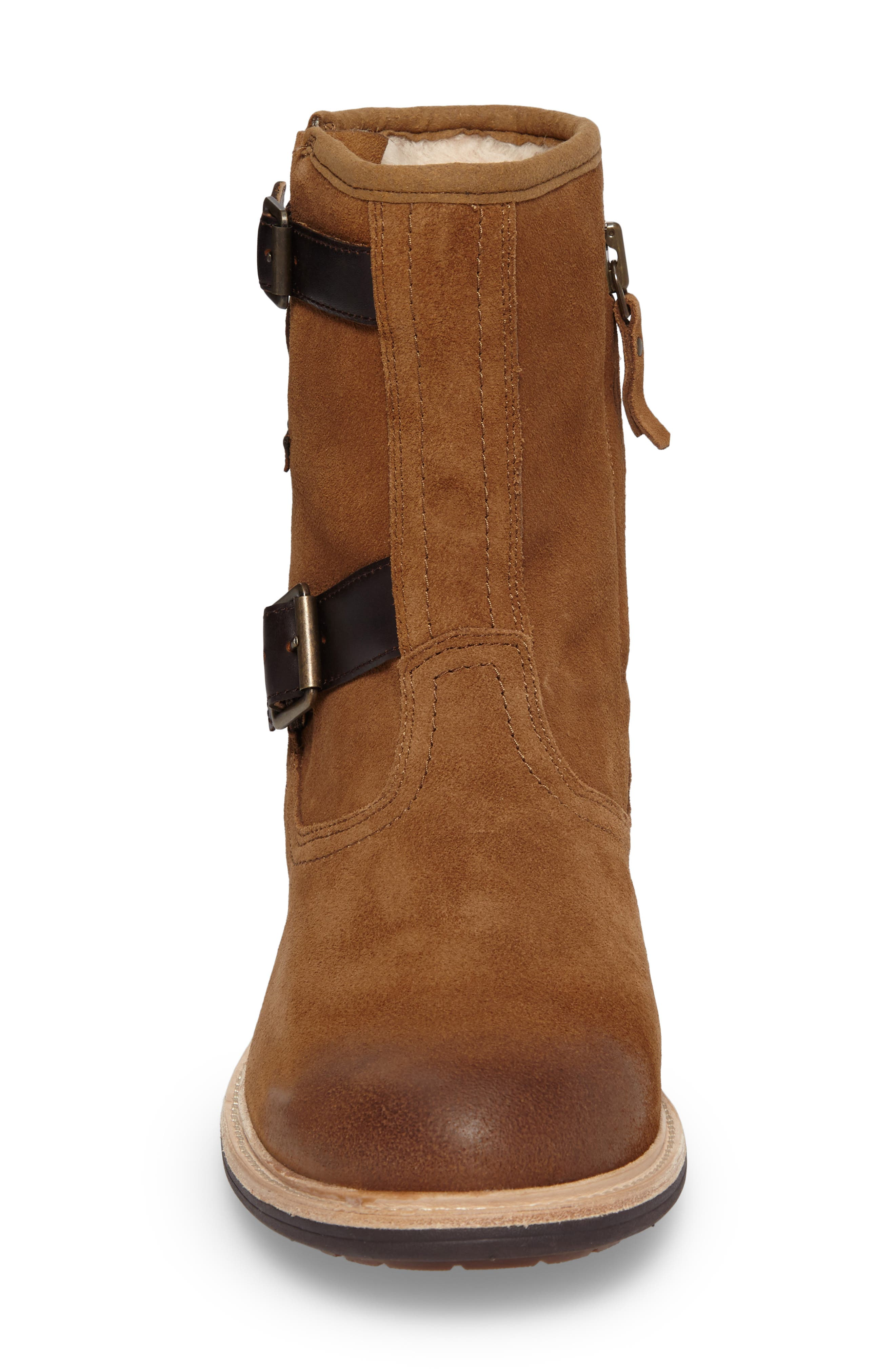 Jaren Zip Boot with Genuine Shearling,                             Alternate thumbnail 4, color,                             Chestnut