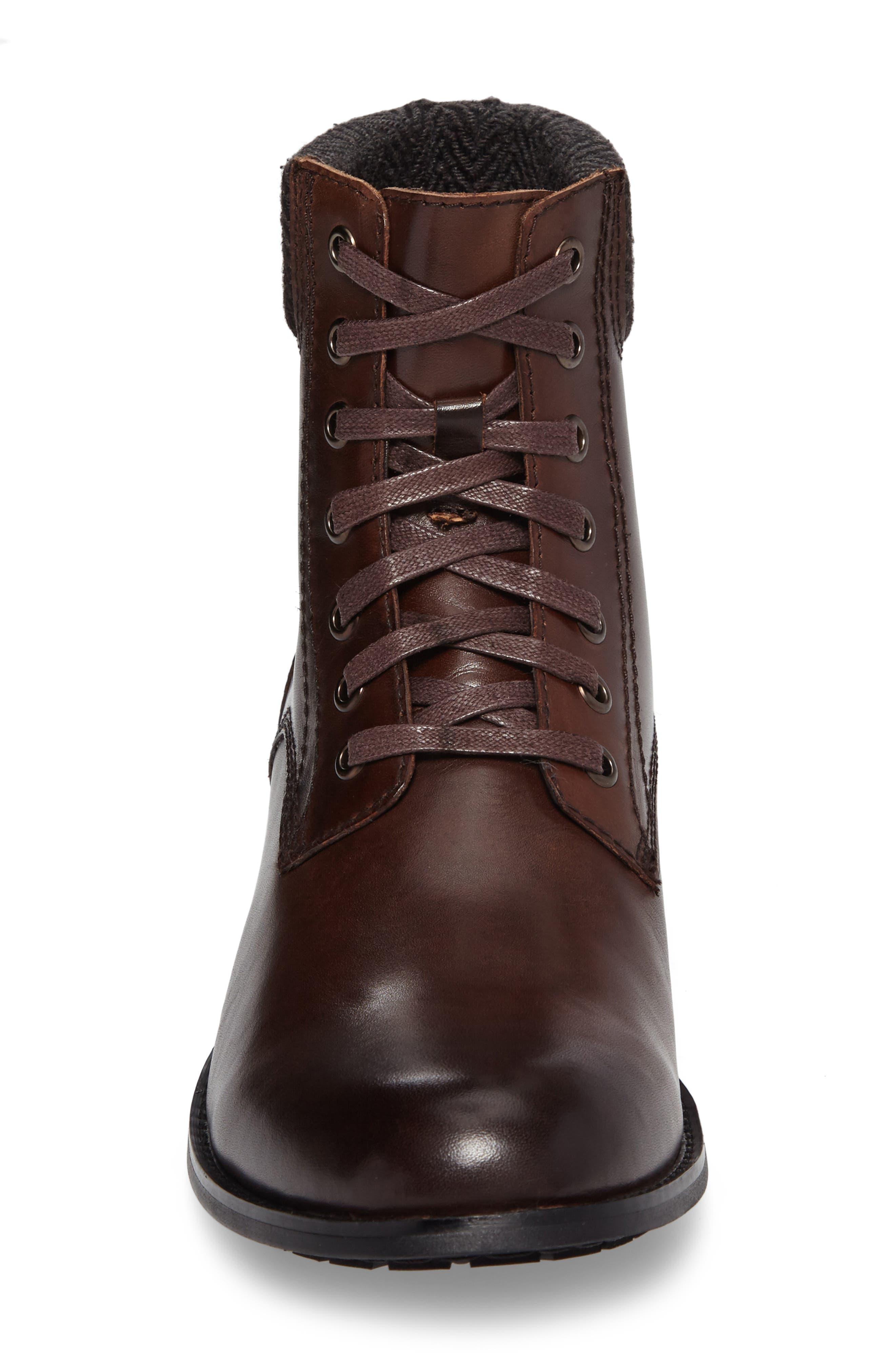 Saar Plain Toe Boot,                             Alternate thumbnail 4, color,                             Brown Leather