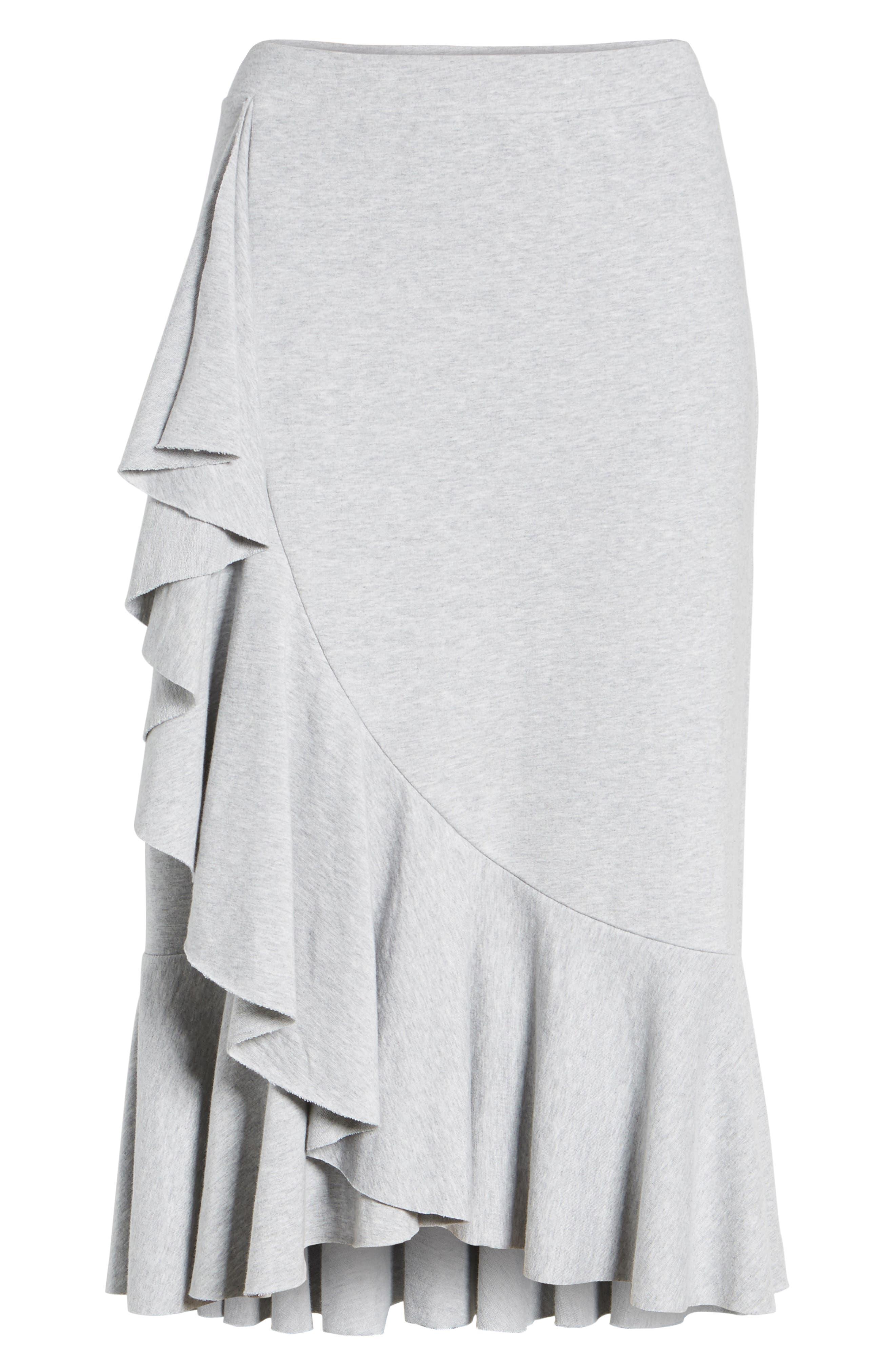 Ruffled Knit Skirt,                             Main thumbnail 1, color,                             Heather Grey