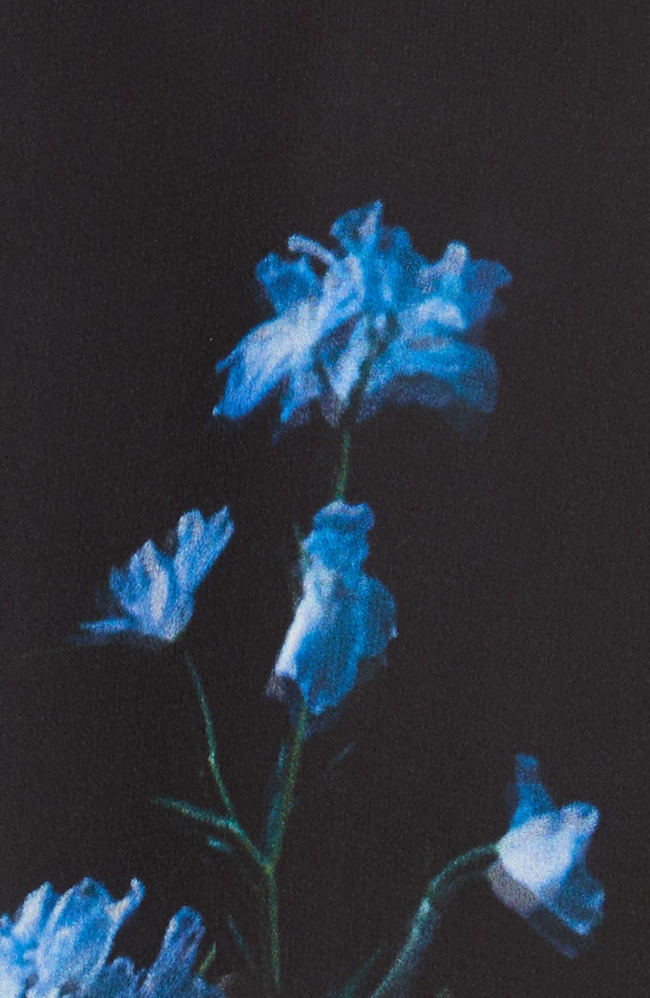 Floral Print Silk Minidress,                             Alternate thumbnail 6, color,                             Black