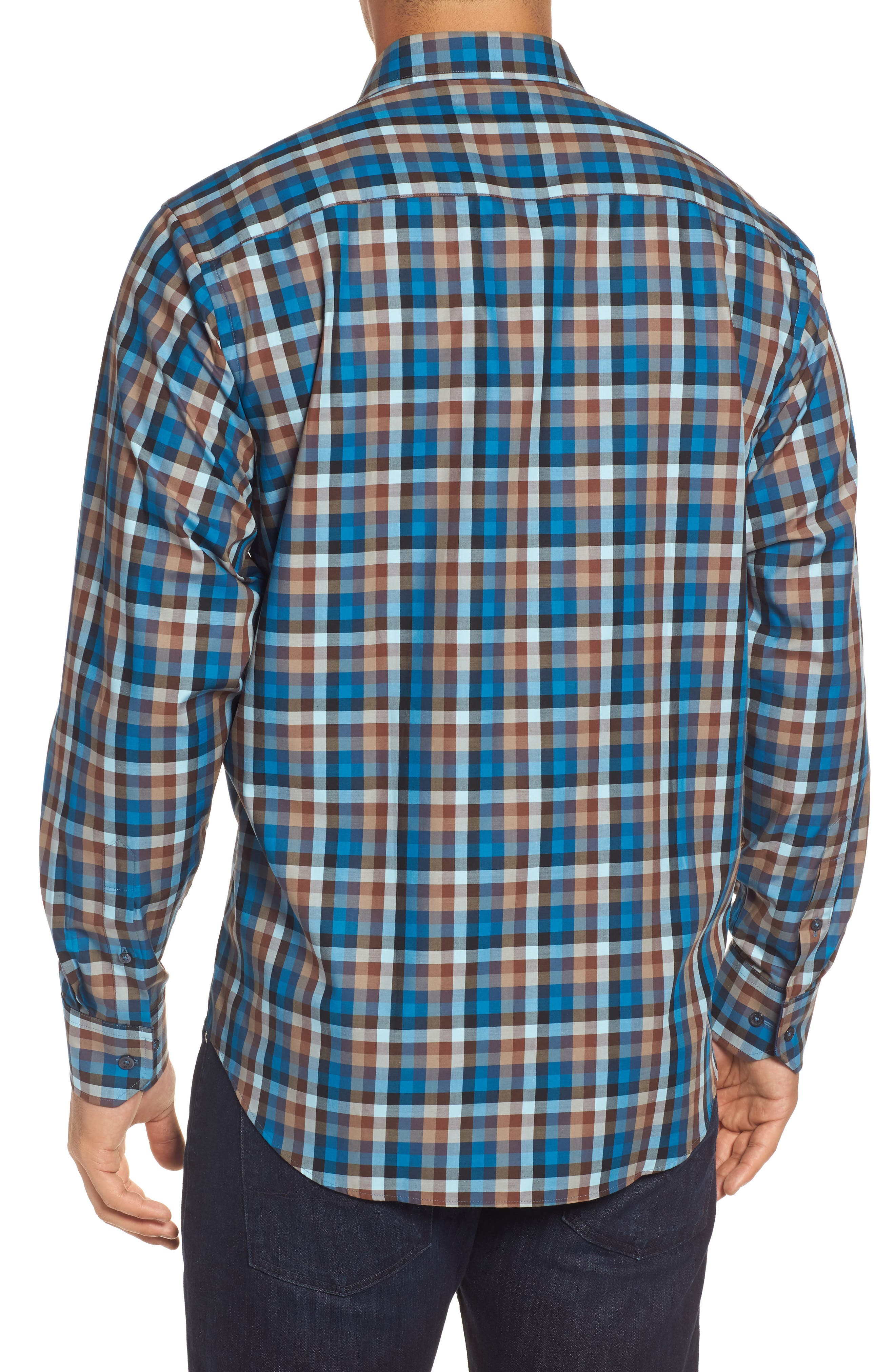 Classic Fit Twill Check Sport Shirt,                             Alternate thumbnail 2, color,                             Mocha
