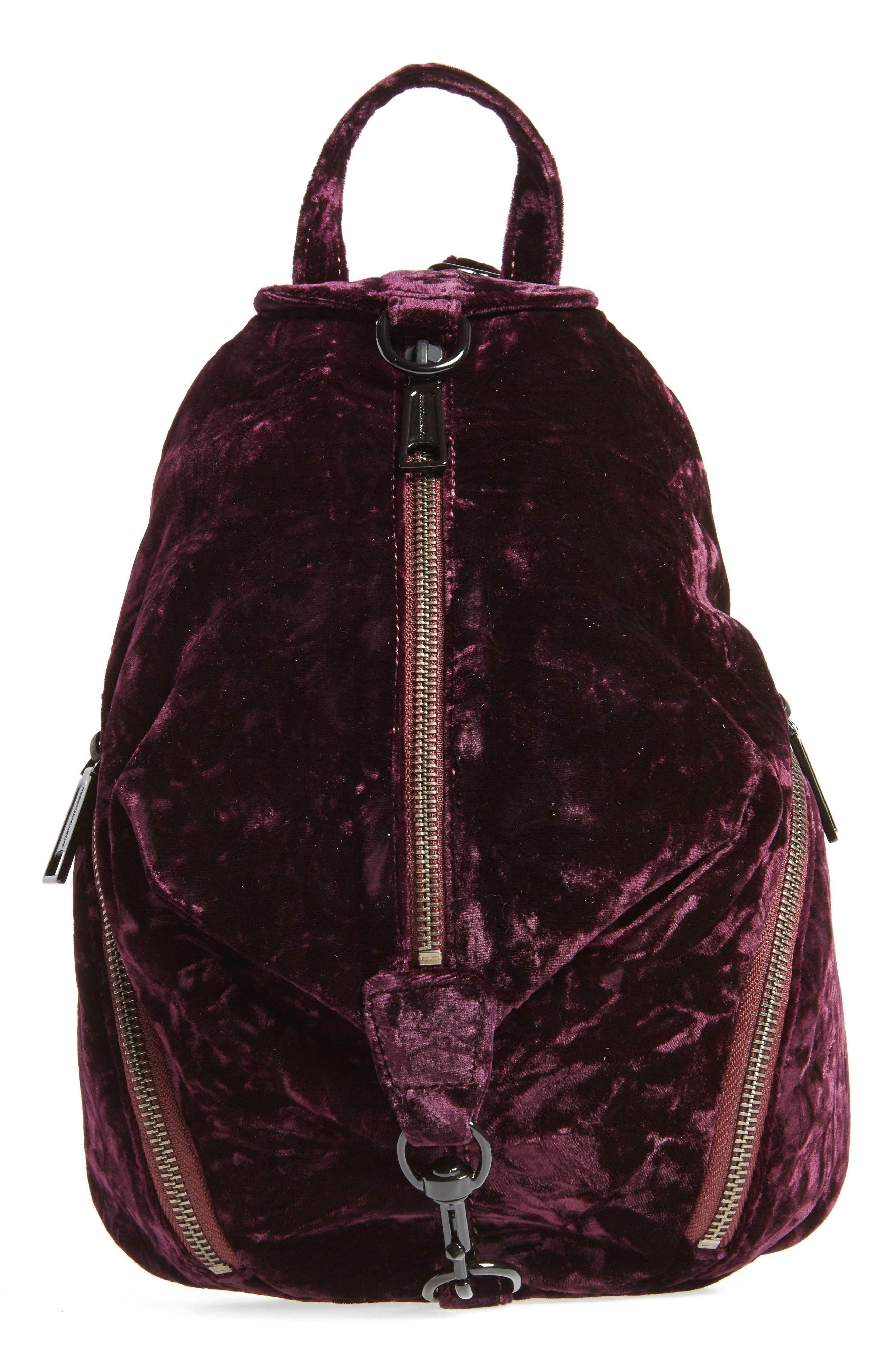 Julian Velvet Backpack,                         Main,                         color, Dark Cherry