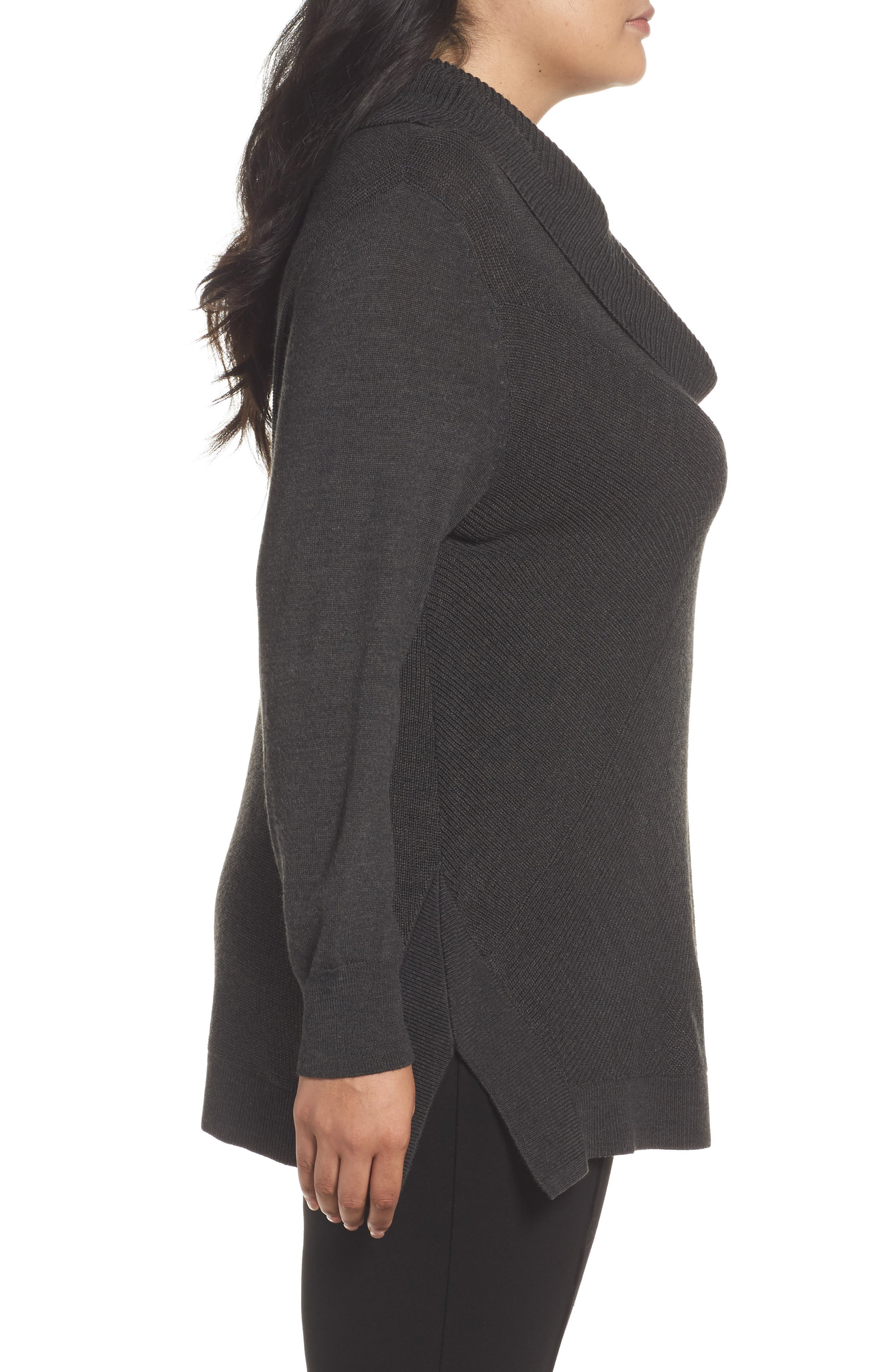 Cowl Neck Ribbed Trim Pullover,                             Alternate thumbnail 3, color,                             Grey Dark Charcoal Heather