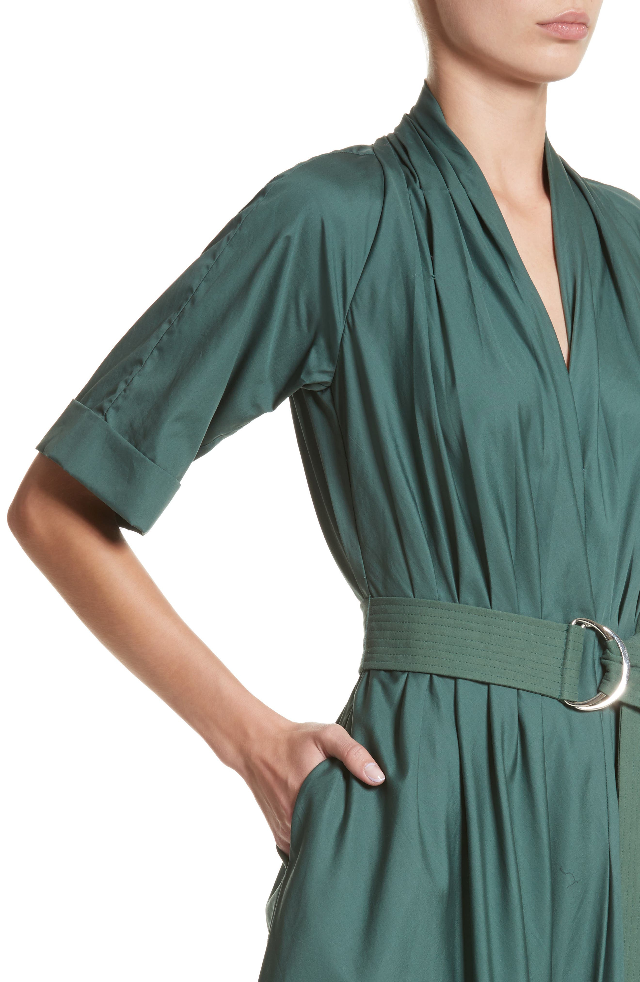 Asymmetrical Cotton Poplin Dress,                             Alternate thumbnail 4, color,                             Sage