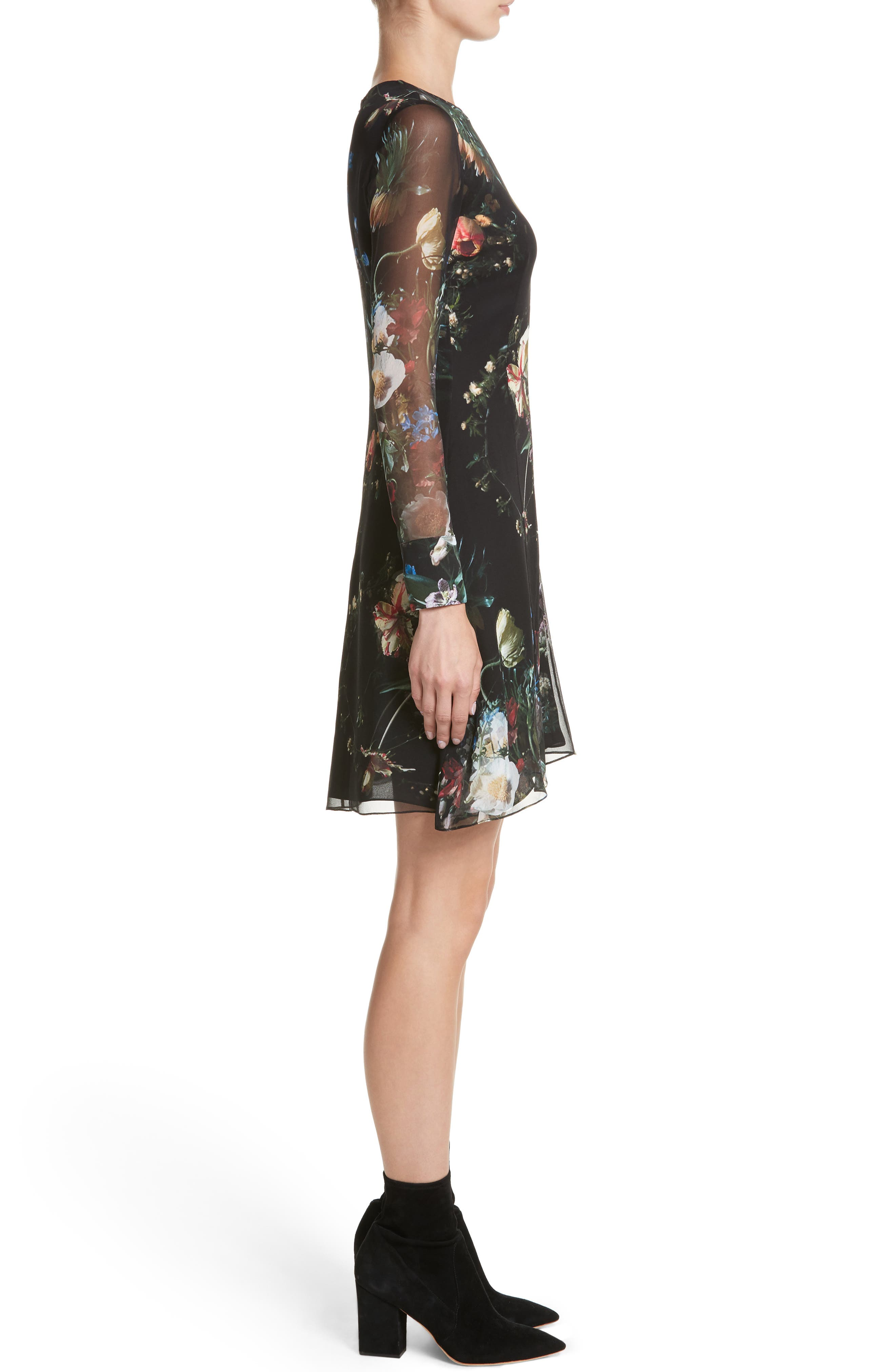 Floral Print Silk Minidress,                             Alternate thumbnail 3, color,                             Black