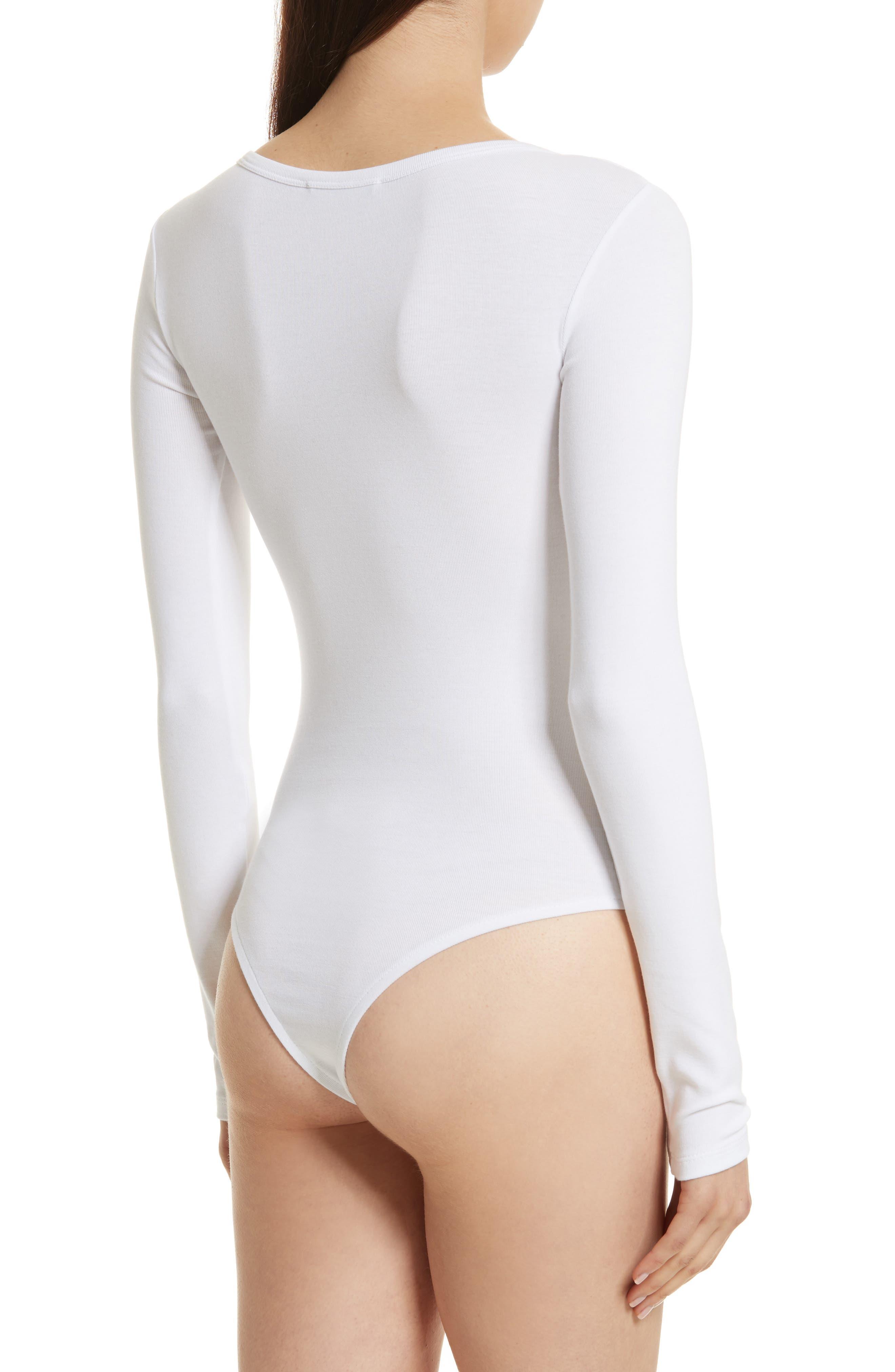 Stretch Cotton Bodysuit,                             Alternate thumbnail 2, color,                             Optic White