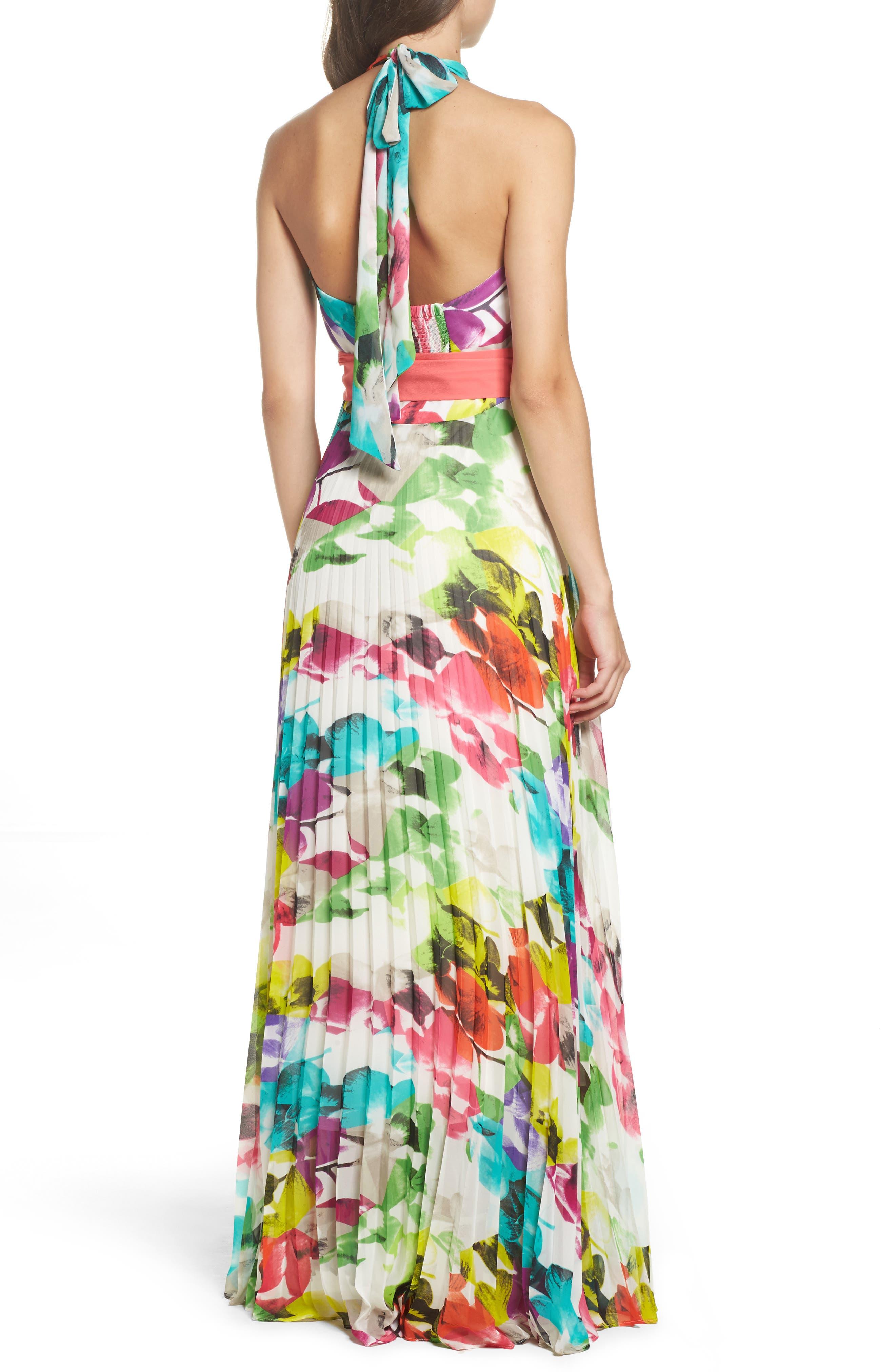 Alternate Image 2  - Eliza J Print Chiffon Halter Maxi Dress