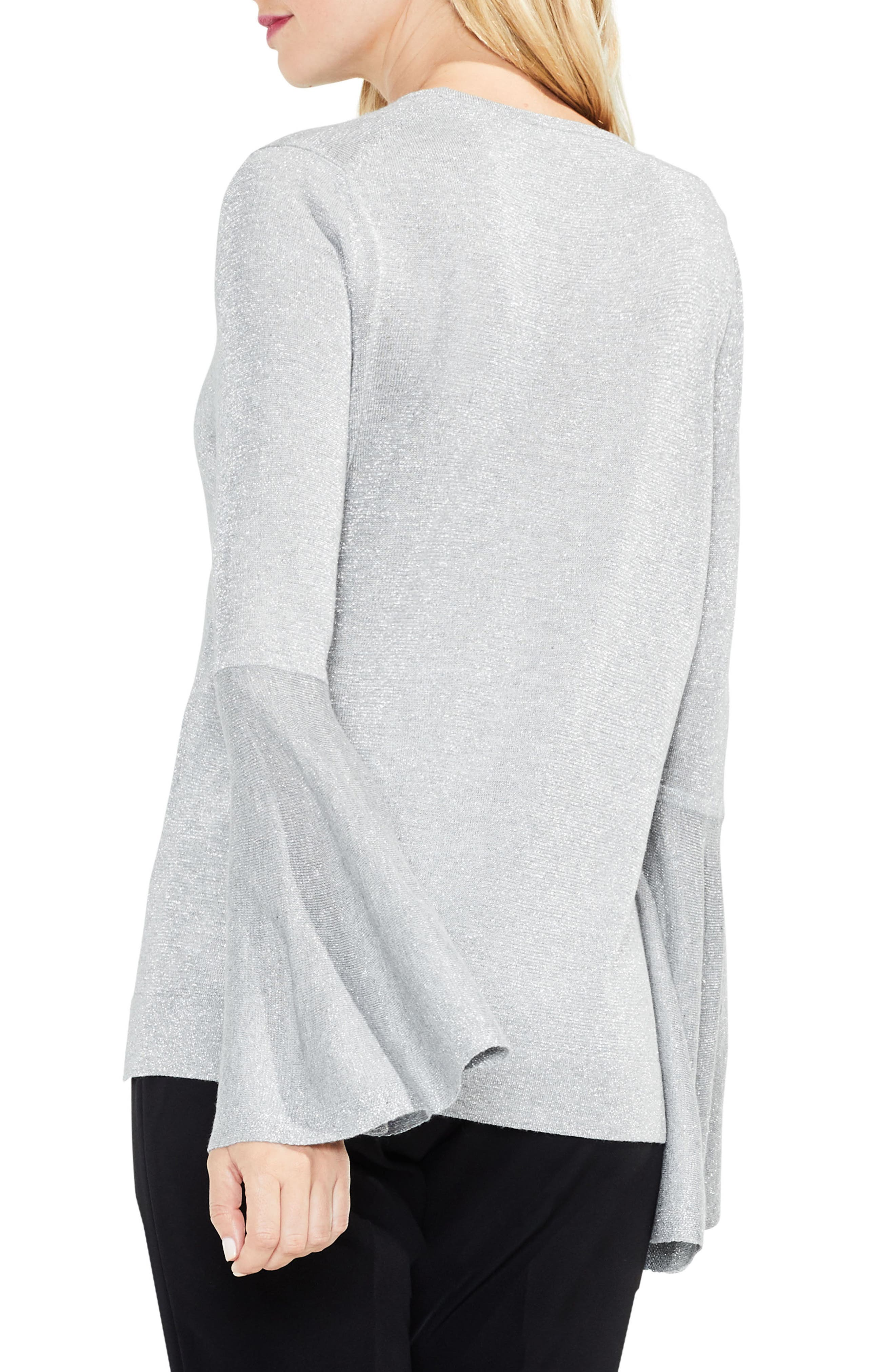 Bell Sleeve Sweater,                             Alternate thumbnail 2, color,                             Light Heather Grey
