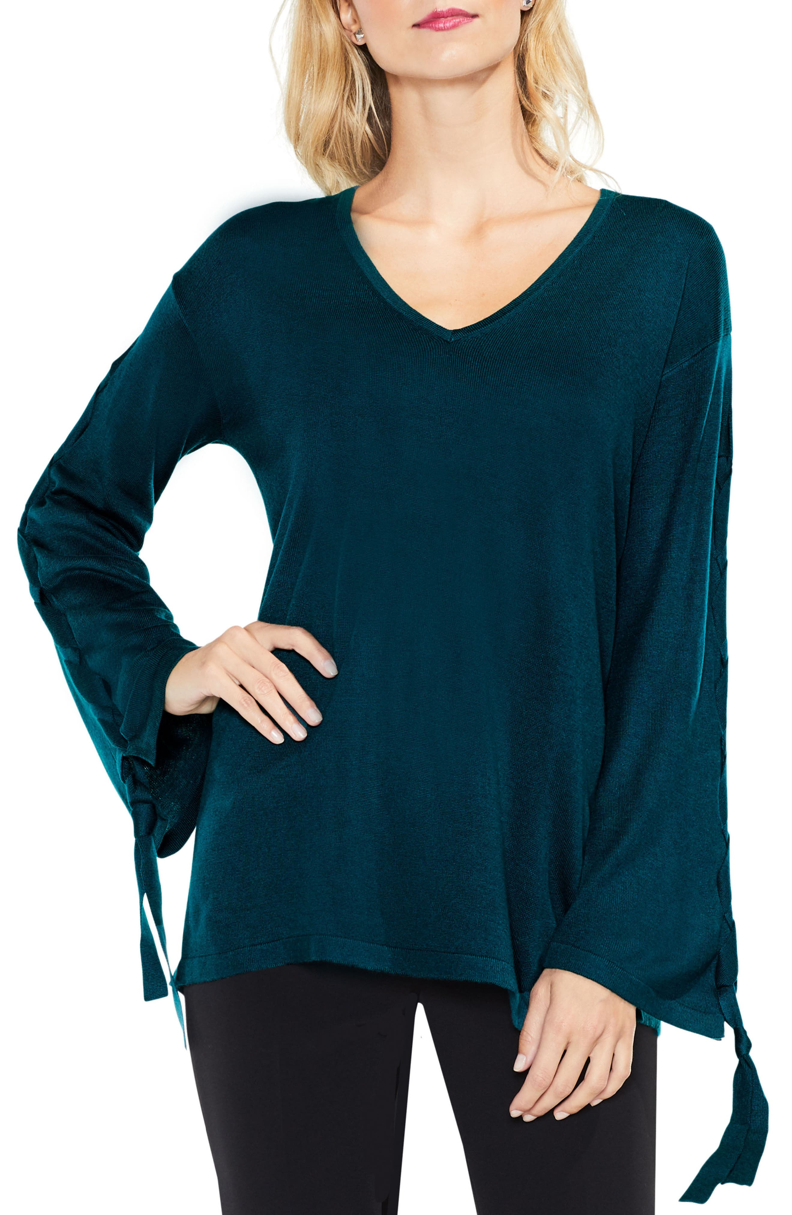 Lace-Up Bell Sleeve Sweater,                         Main,                         color, Dark Peacock
