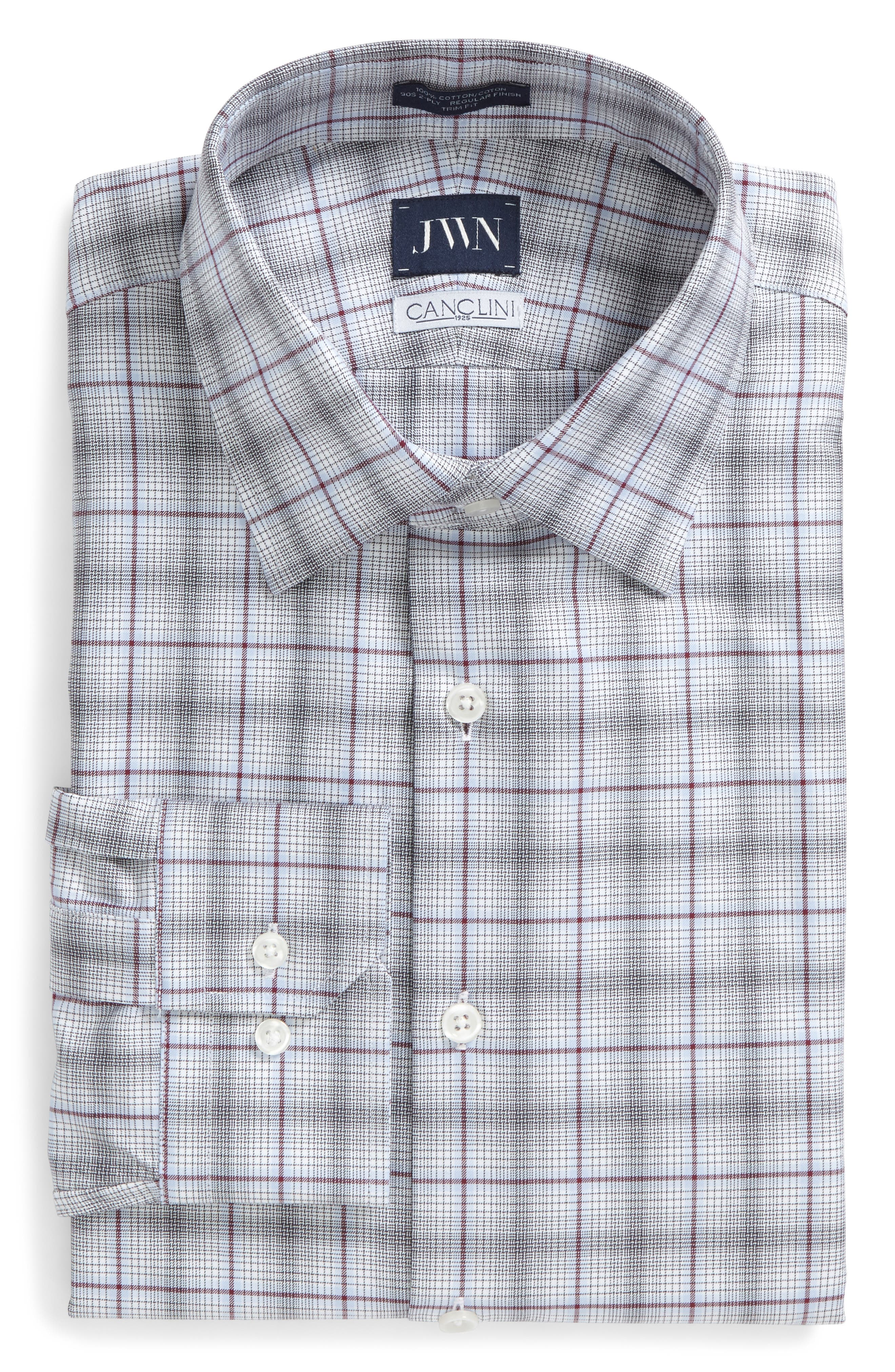 John W. Nordstrom® Trim Fit Plaid Dress Shirt