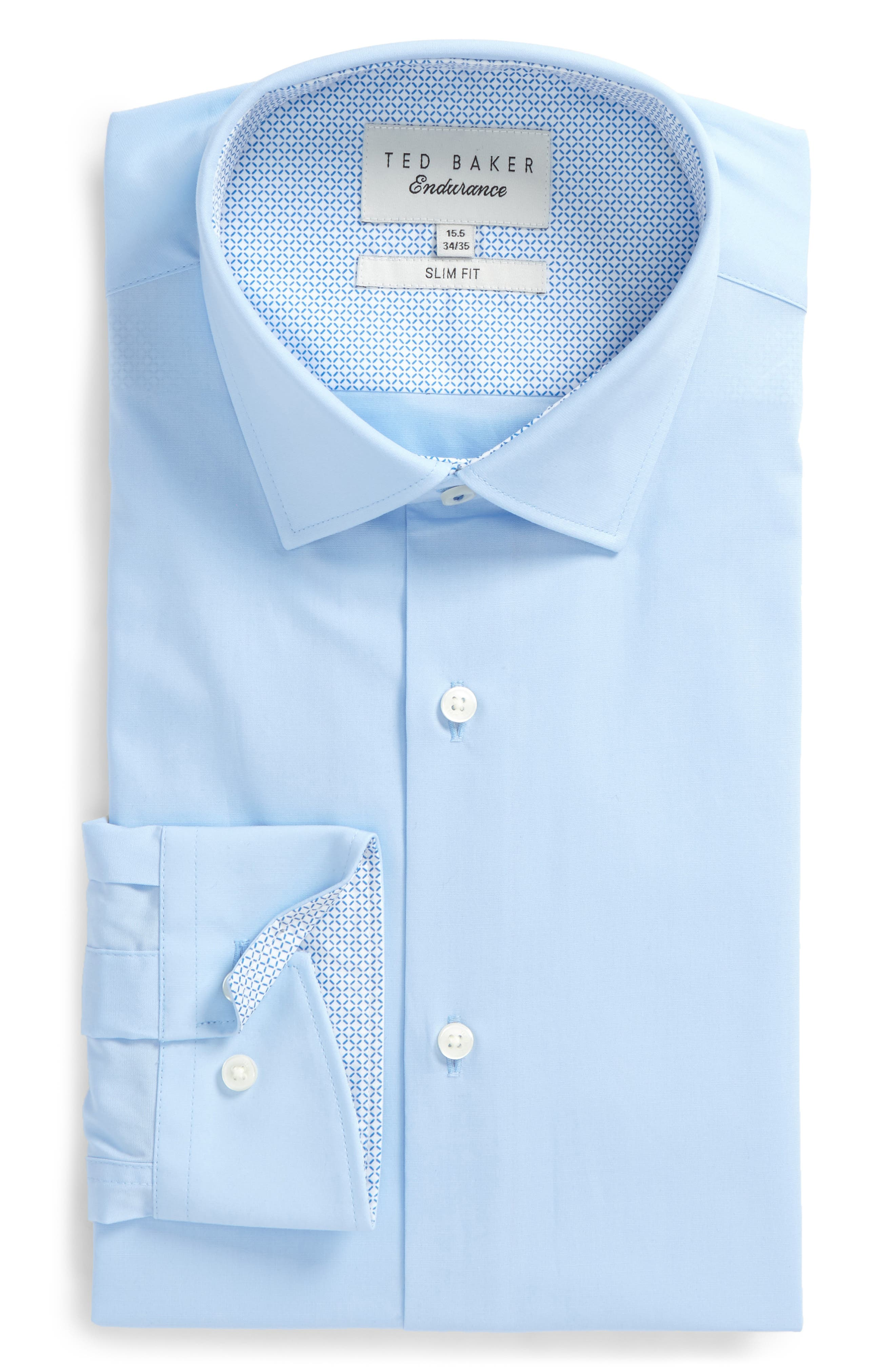 Endurance Bookers Slim Fit Solid Dress Shirt,                         Main,                         color, Blue