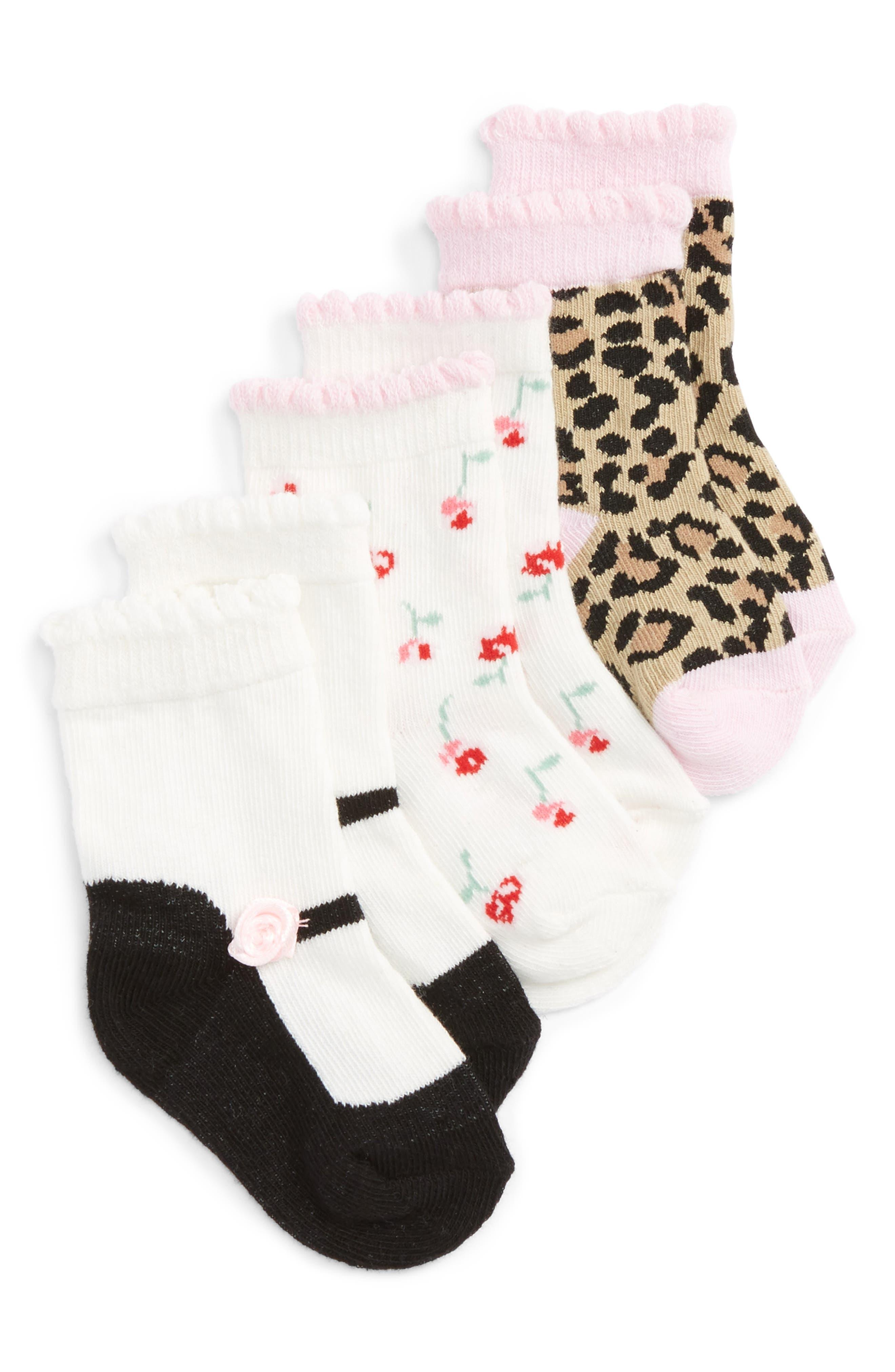 kate spade new york 3-pack socks (Baby Girls)