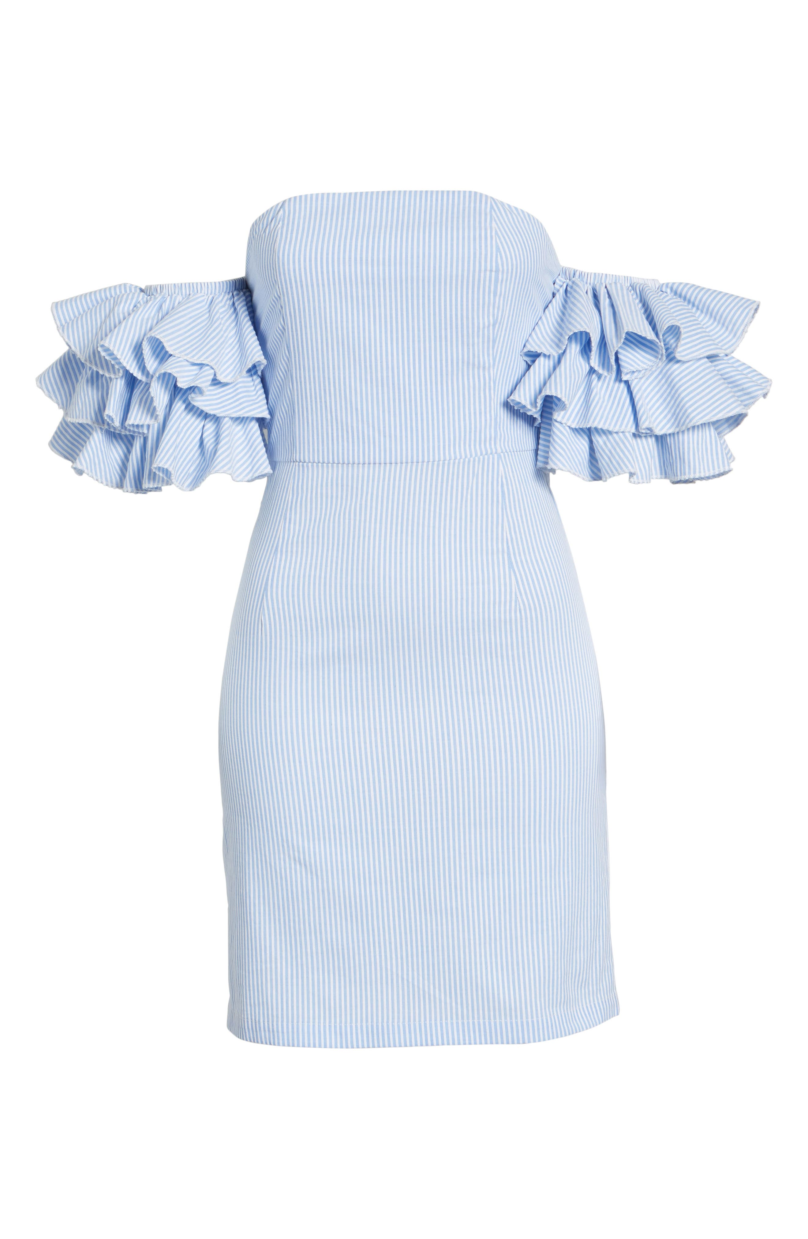 The Malibu Off the Shoulder Dress,                             Alternate thumbnail 8, color,                             Pinstriped Blue