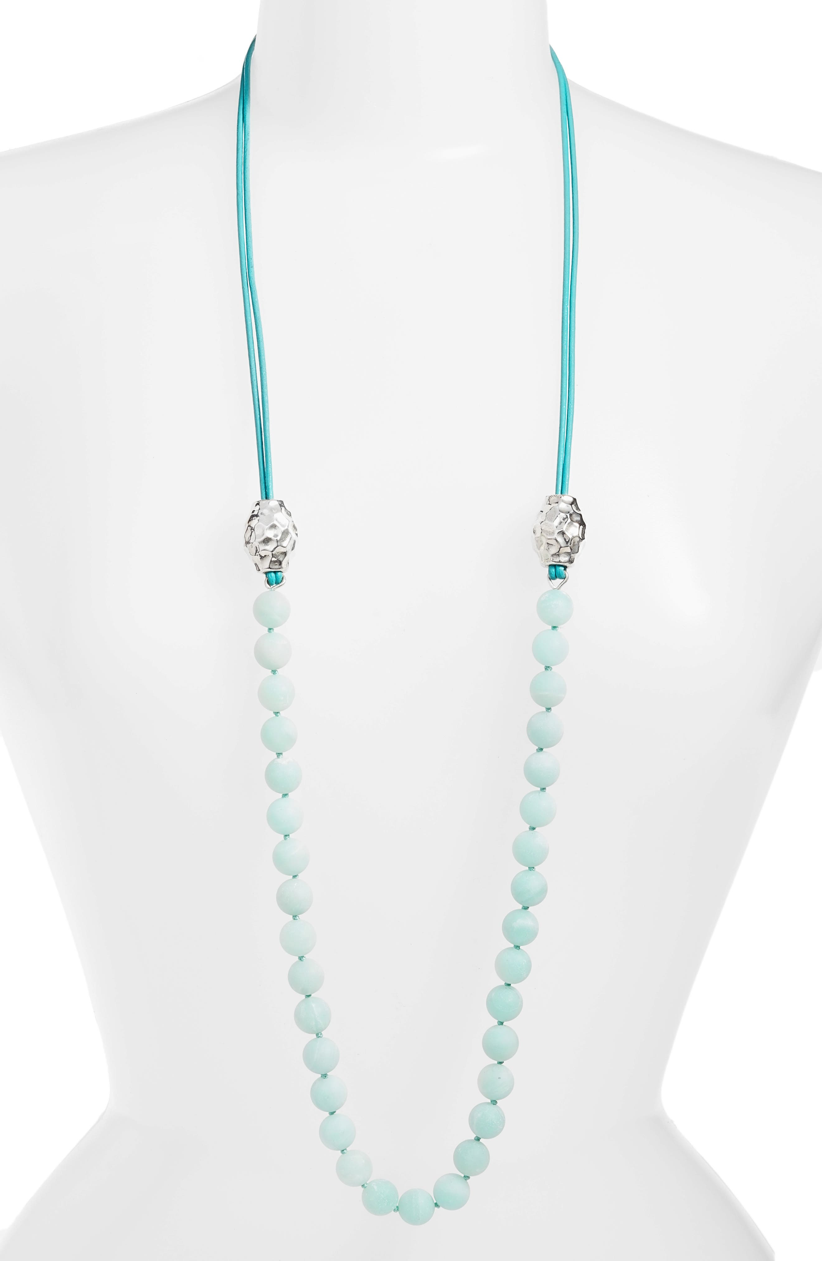 Beaded Leather Necklace,                         Main,                         color, Matte Amazonite