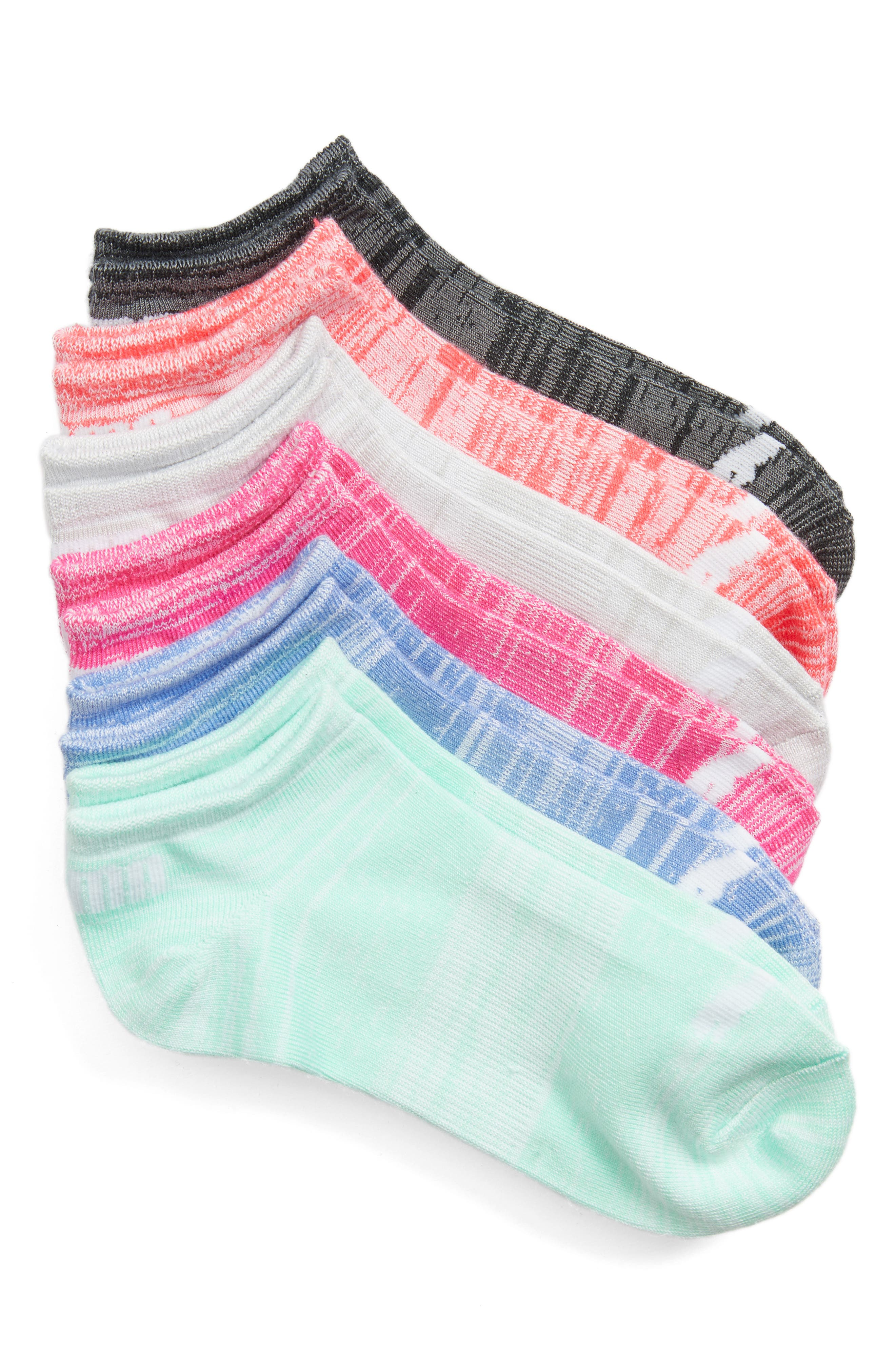 6-Pack No-Show Socks,                             Main thumbnail 1, color,                             Pink Multi