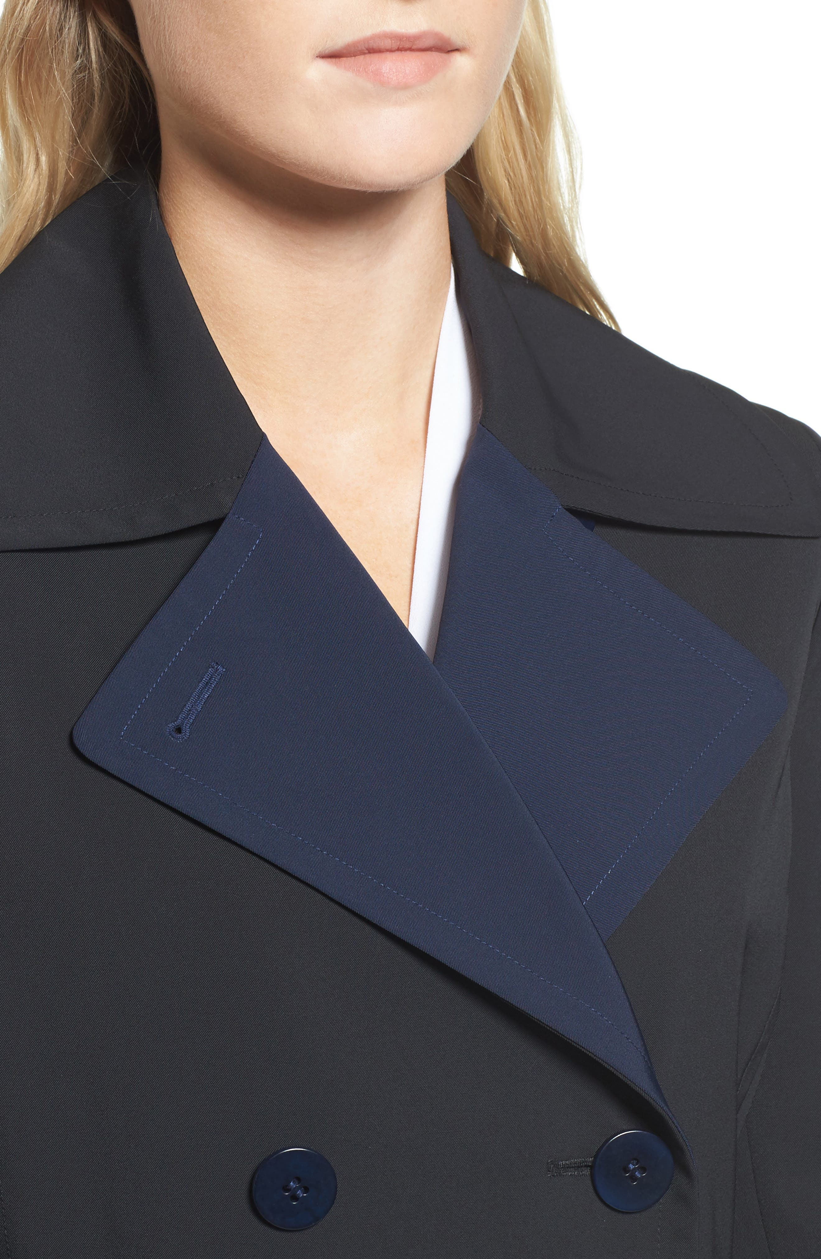 Alternate Image 4  - Trina Turk Isabella Two-Tone Double Breasted Trench Raincoat