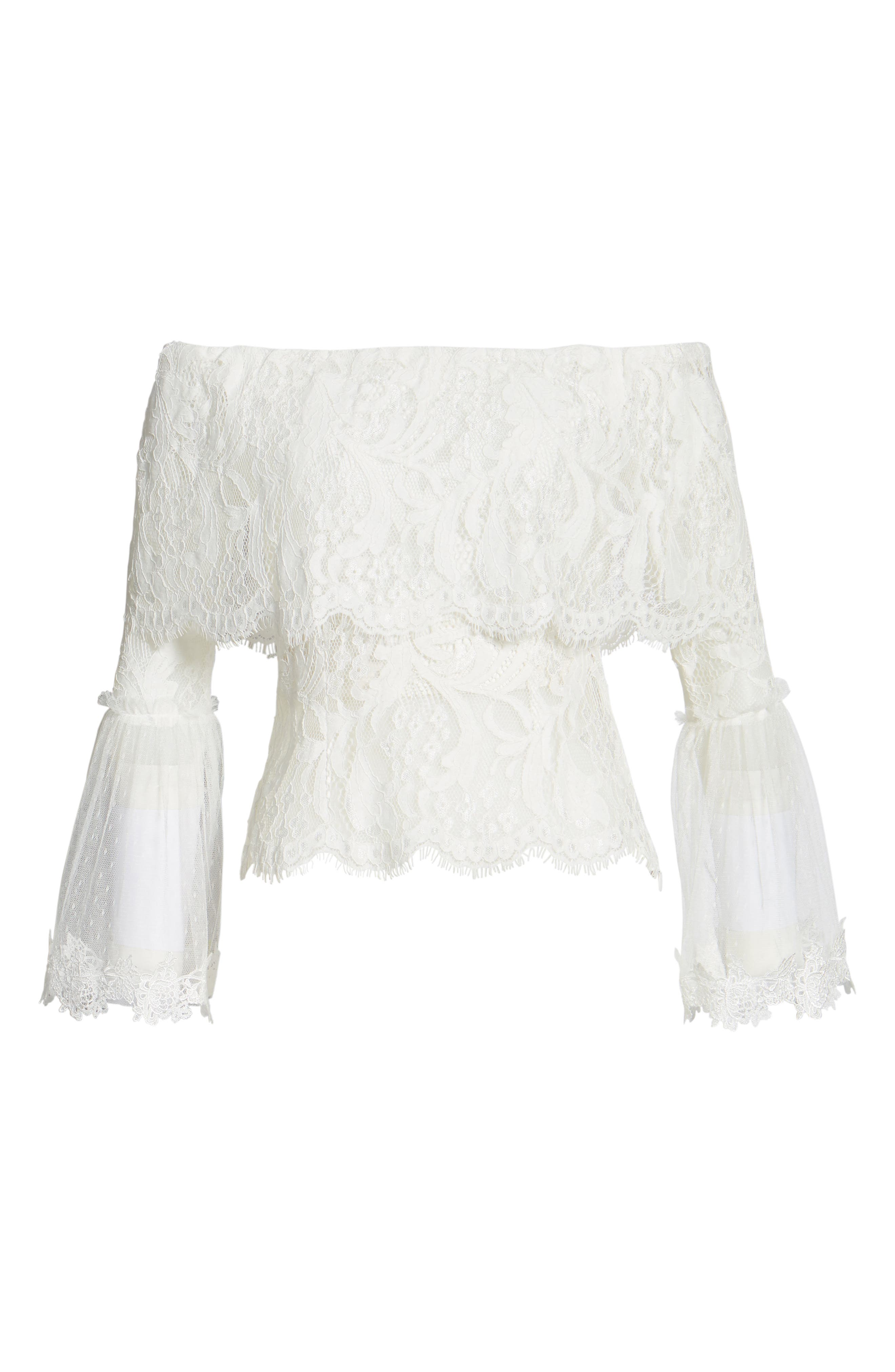 If You Dare Lace Off the Shoulder Blouse,                             Alternate thumbnail 6, color,                             Ivory