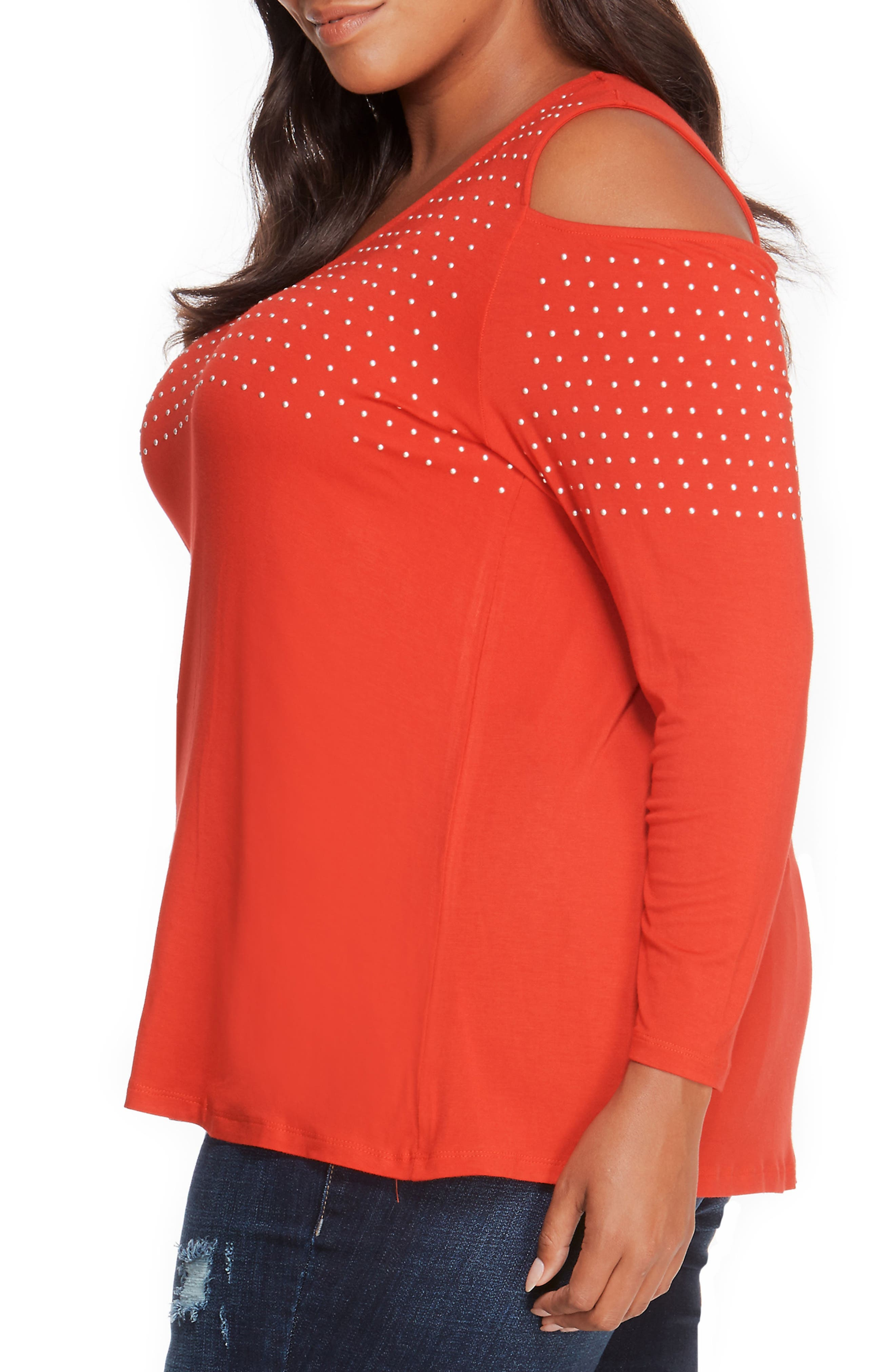 Studded Cold Shoulder Top,                             Alternate thumbnail 3, color,                             Haute Red