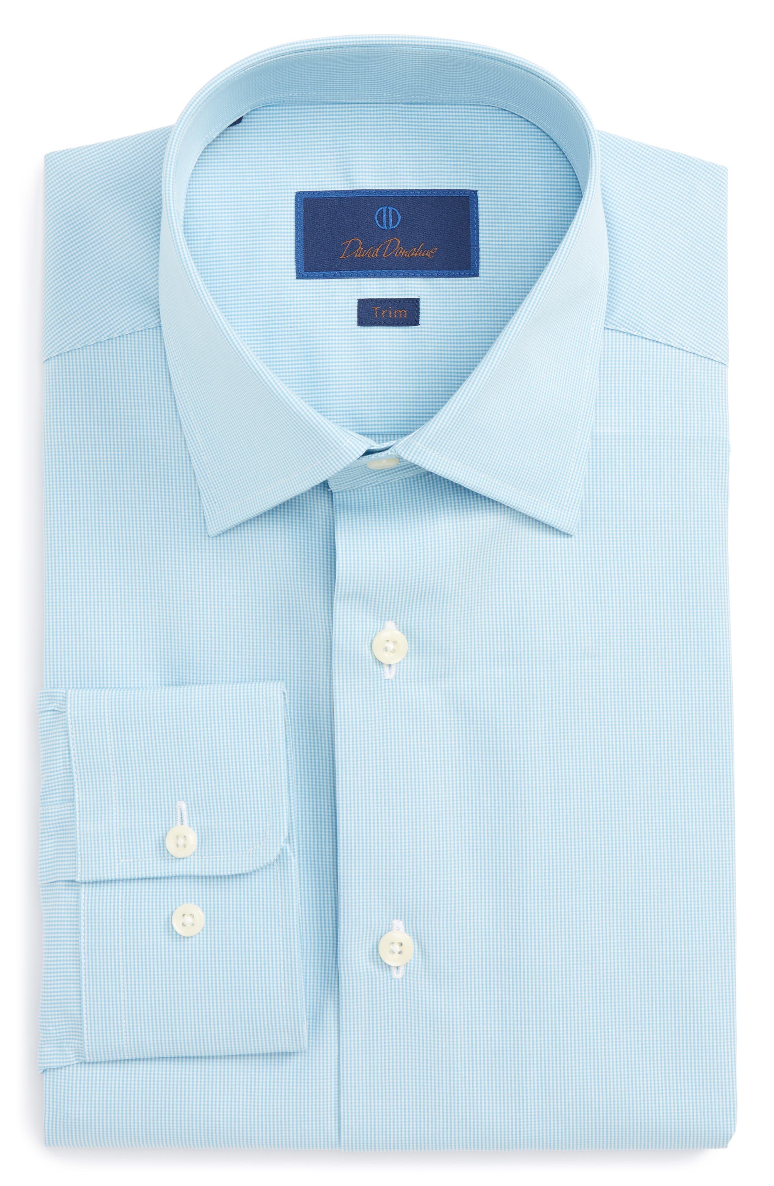 Trim Fit Check Dress Shirt,                         Main,                         color, Sea