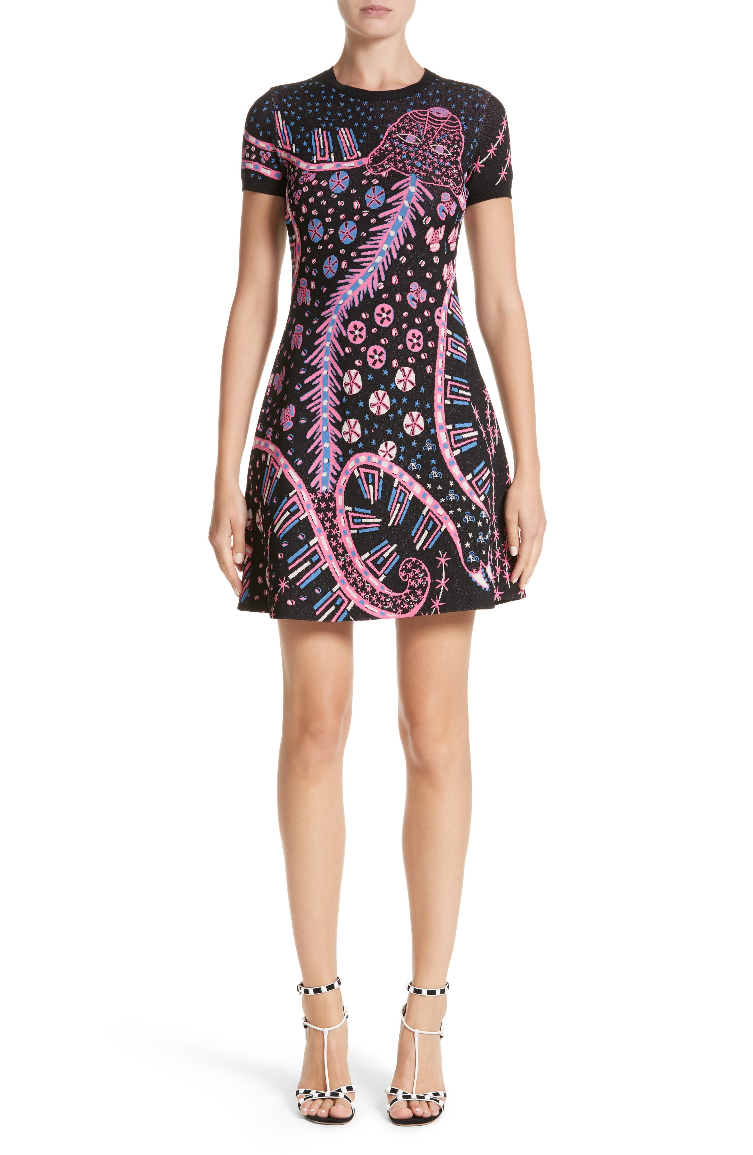 Leopard Stretch Knit Dress,                             Main thumbnail 1, color,                             Black Multi