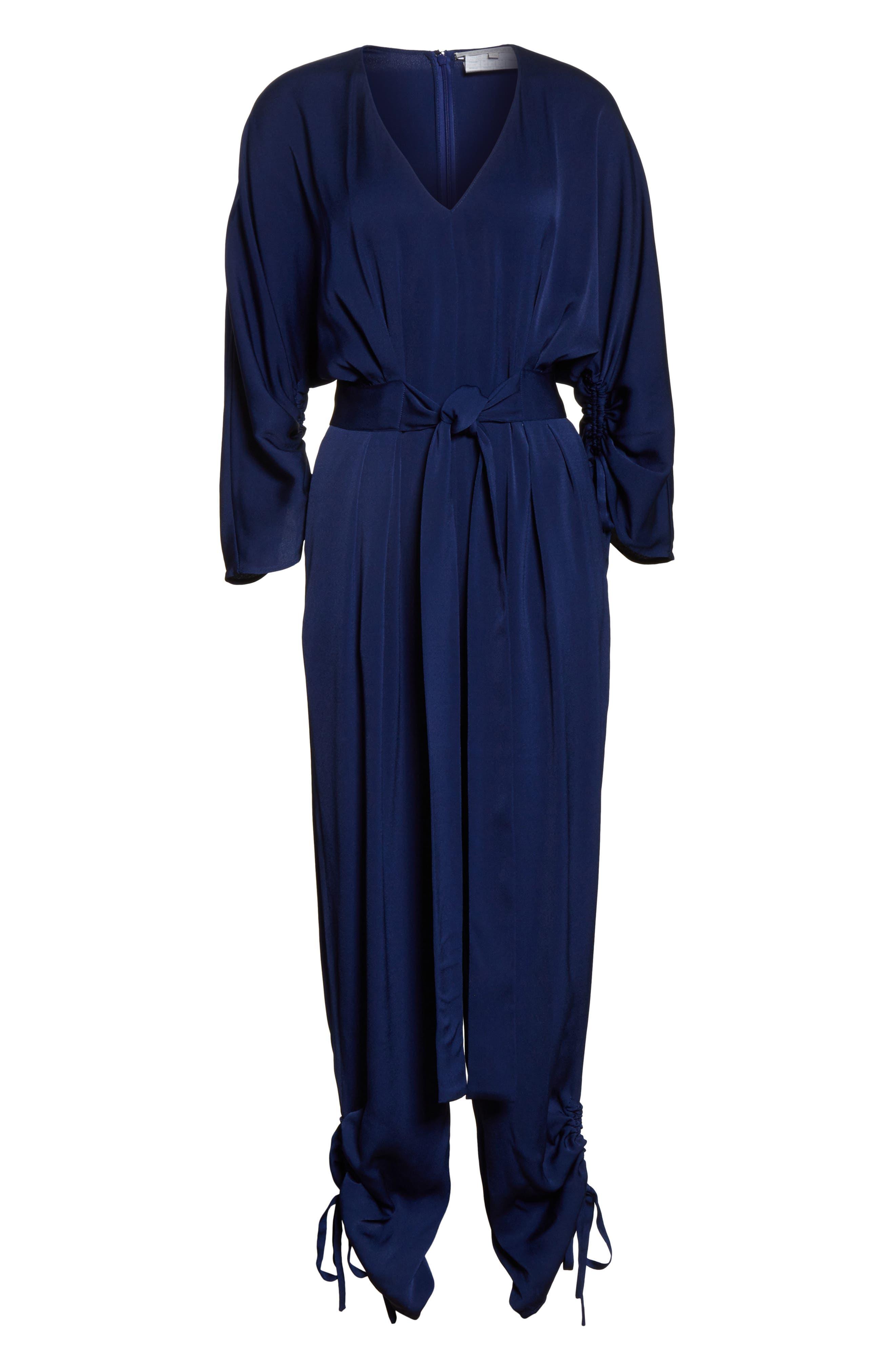 Drawstring Cady Jumpsuit,                             Alternate thumbnail 7, color,                             Sapphire Blue