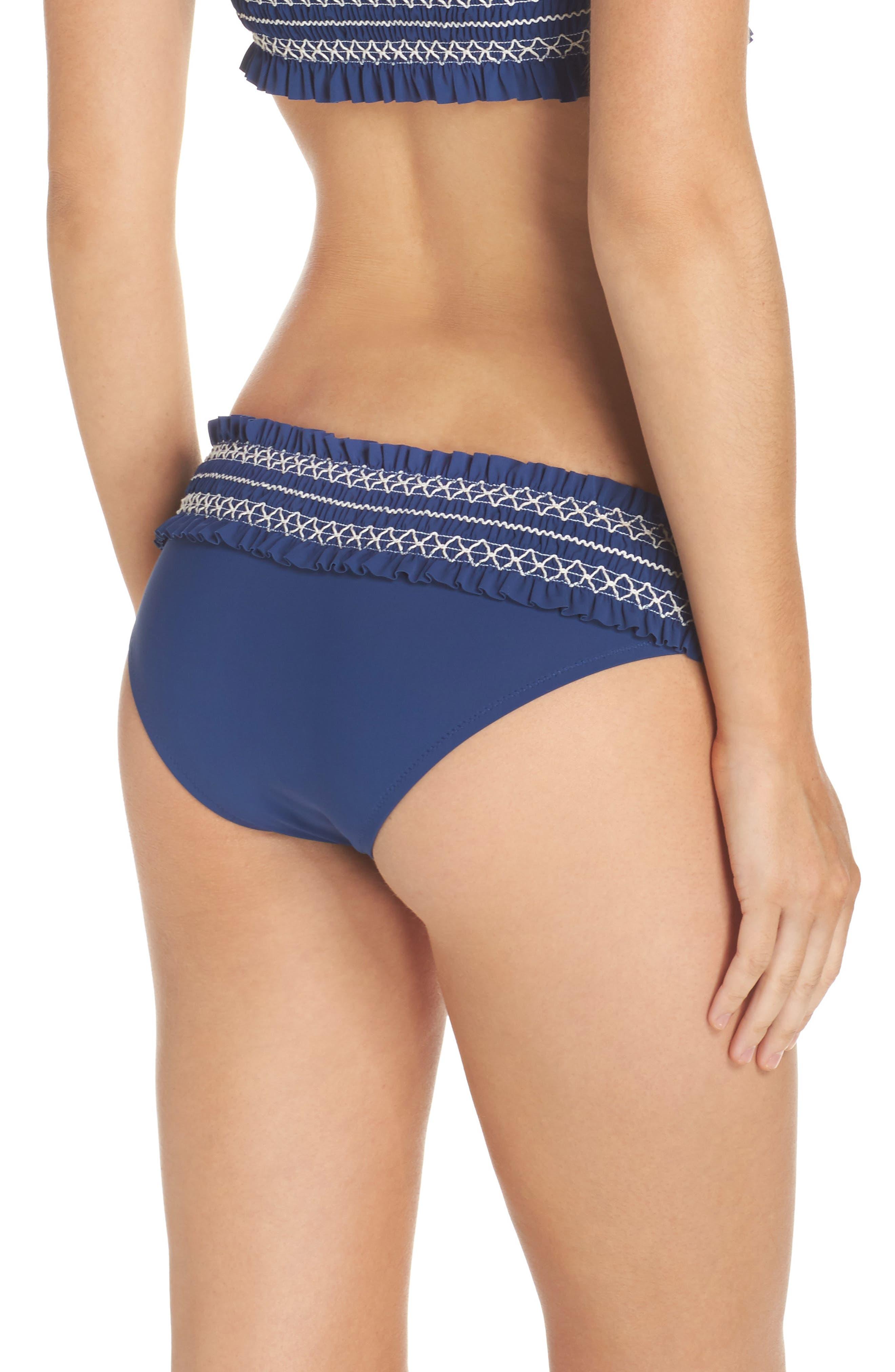 Costa Smocked Hipster Bikini Bottoms,                             Alternate thumbnail 2, color,                             Capri Blue/ New Ivory