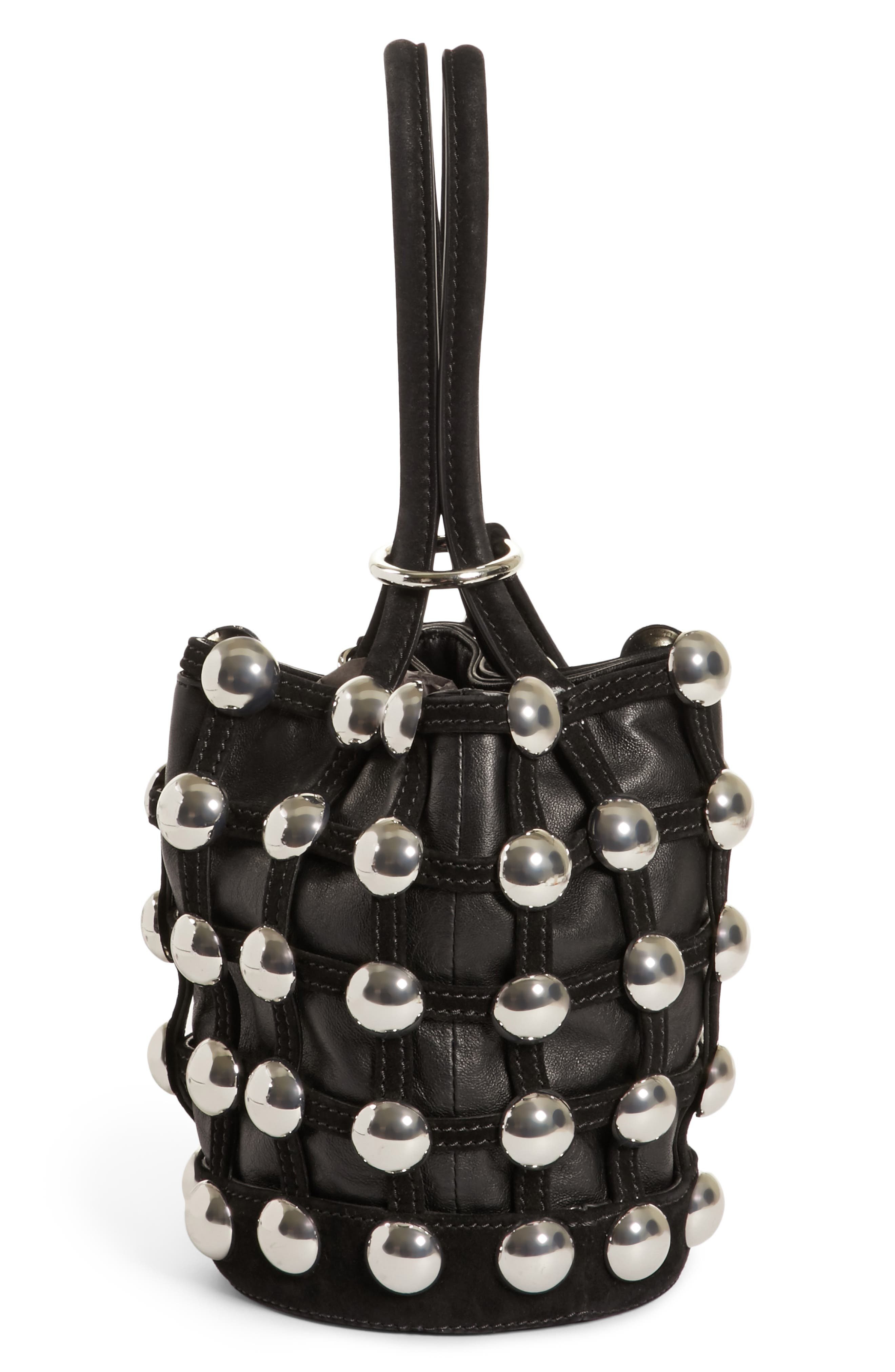 Mini Roxy Studded Cage Leather Bucket Bag,                             Alternate thumbnail 4, color,                             Black
