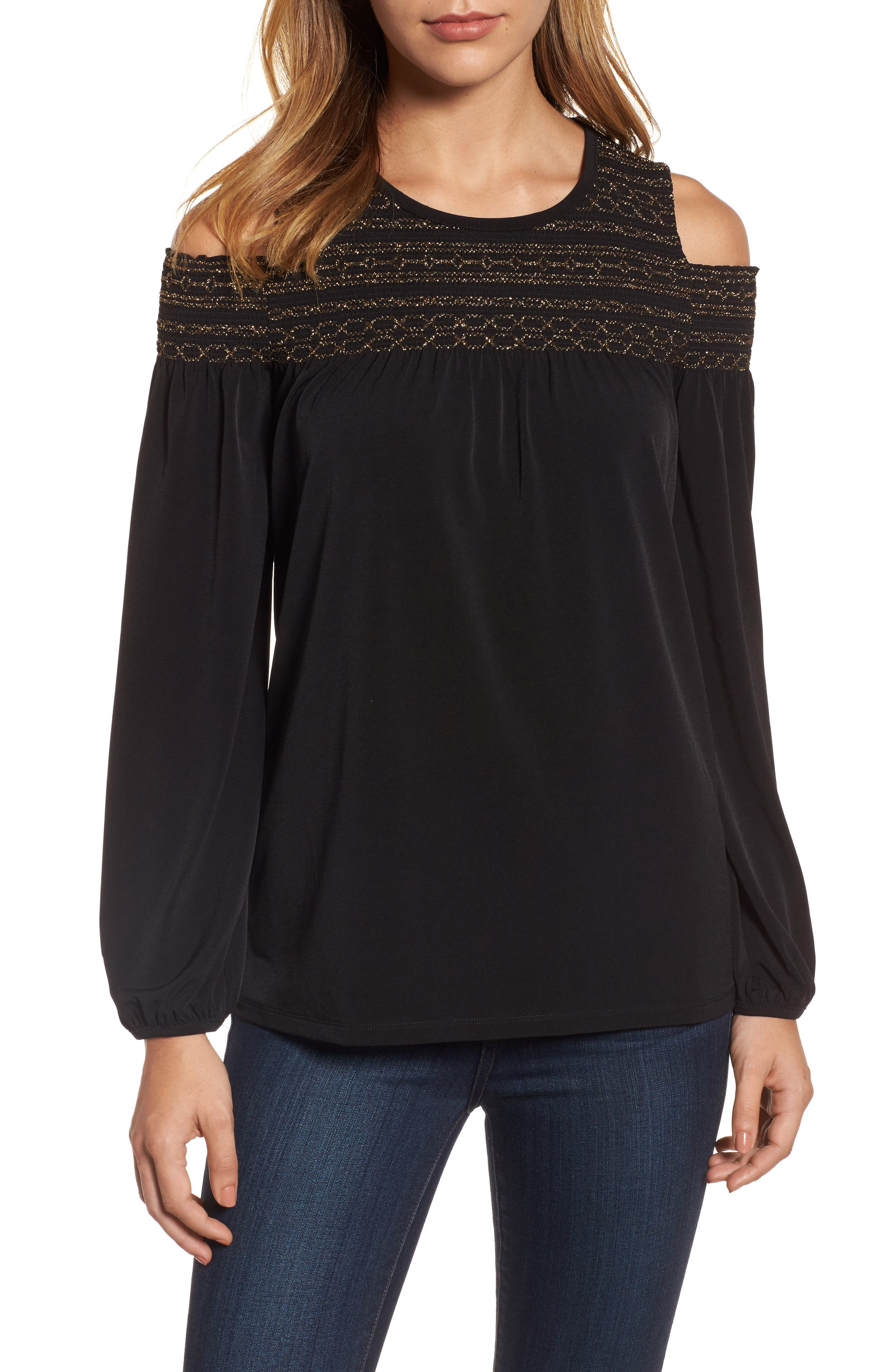 MICHAEL Michael Kors Metallic Smocked Yoke Top