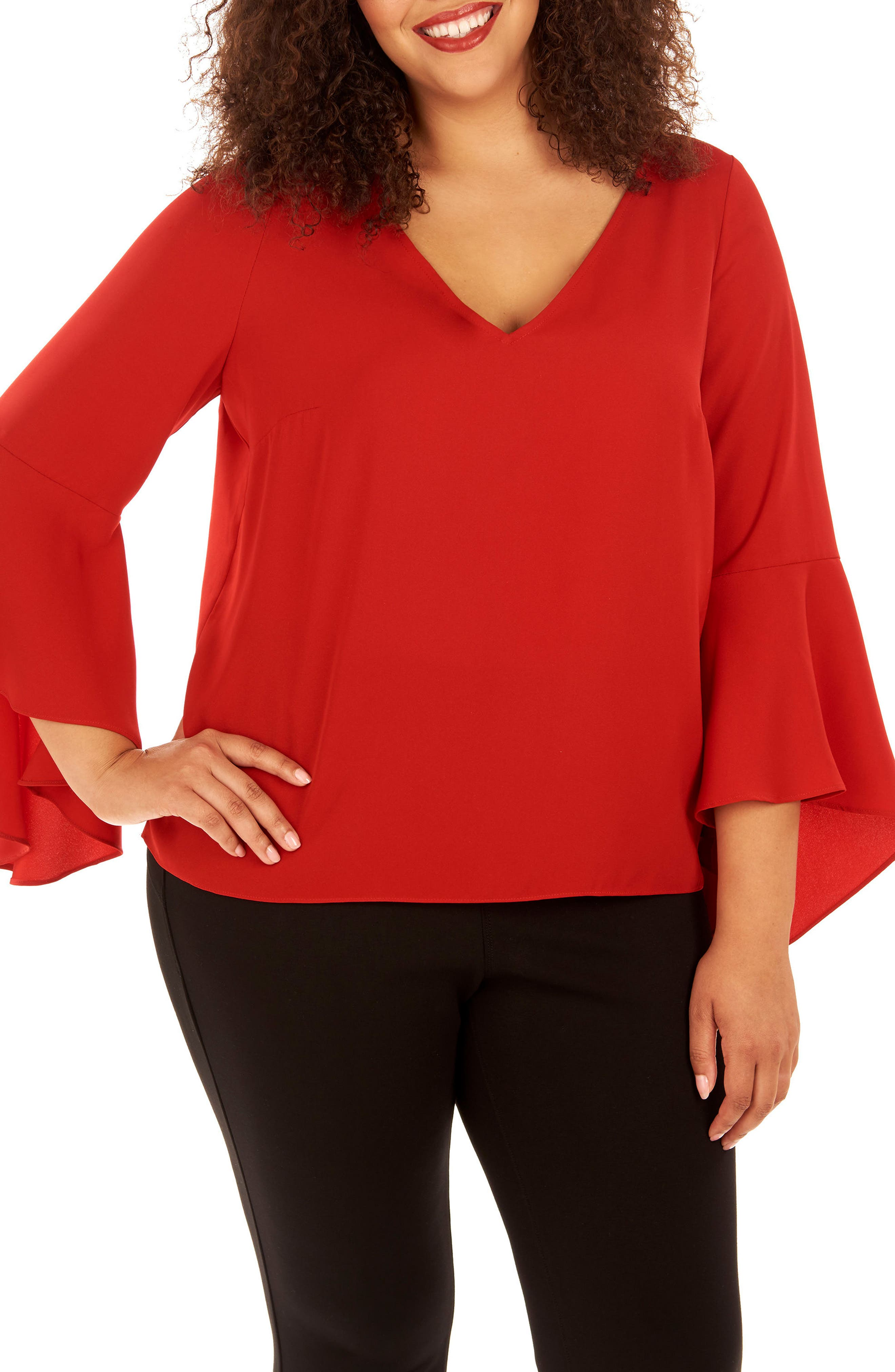 Bell Sleeve Top,                         Main,                         color, Haute Red