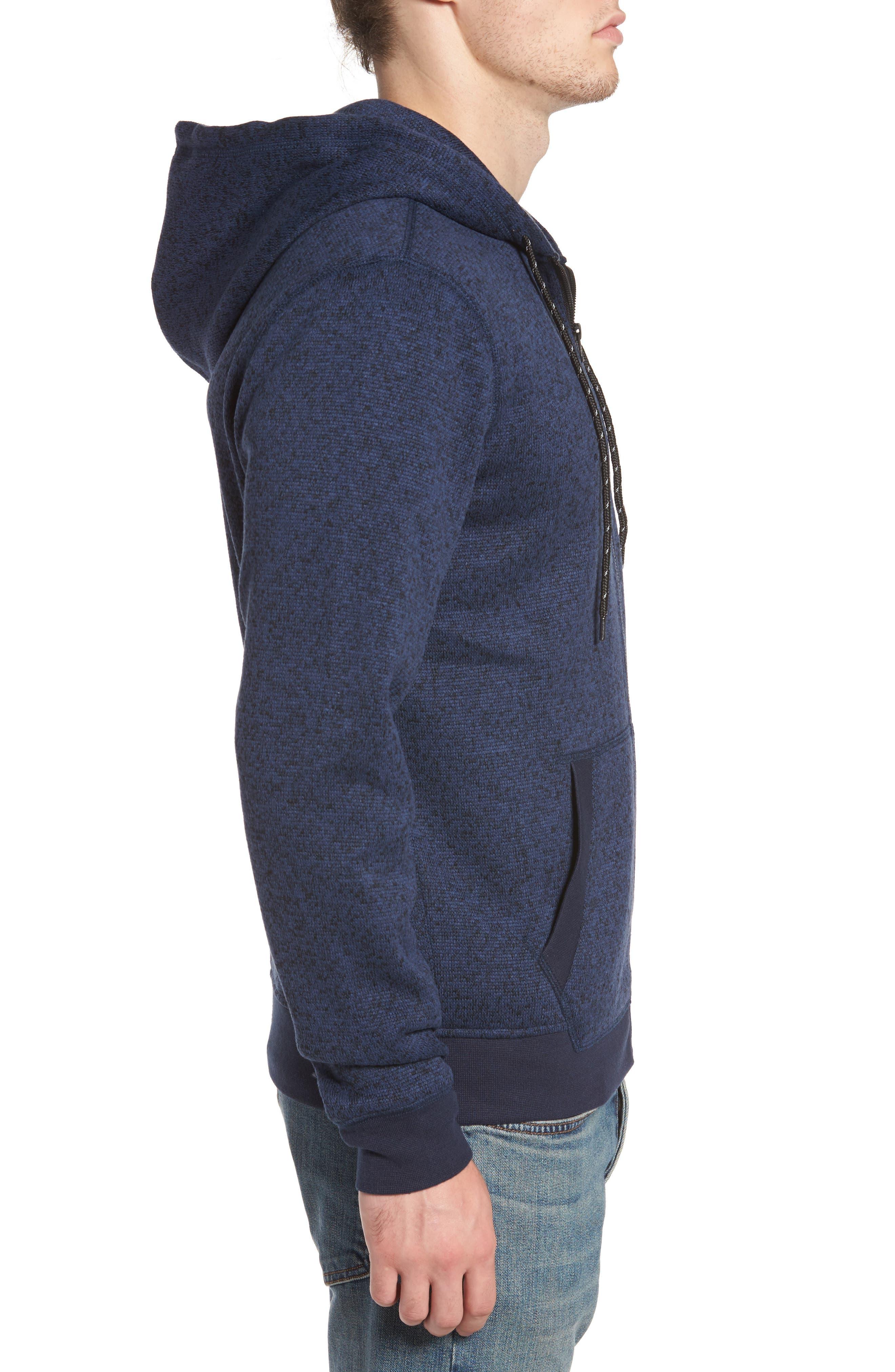 The Rail Zip Front Sweater Hoodie,                             Alternate thumbnail 3, color,                             Blue Estate/ Black Marl