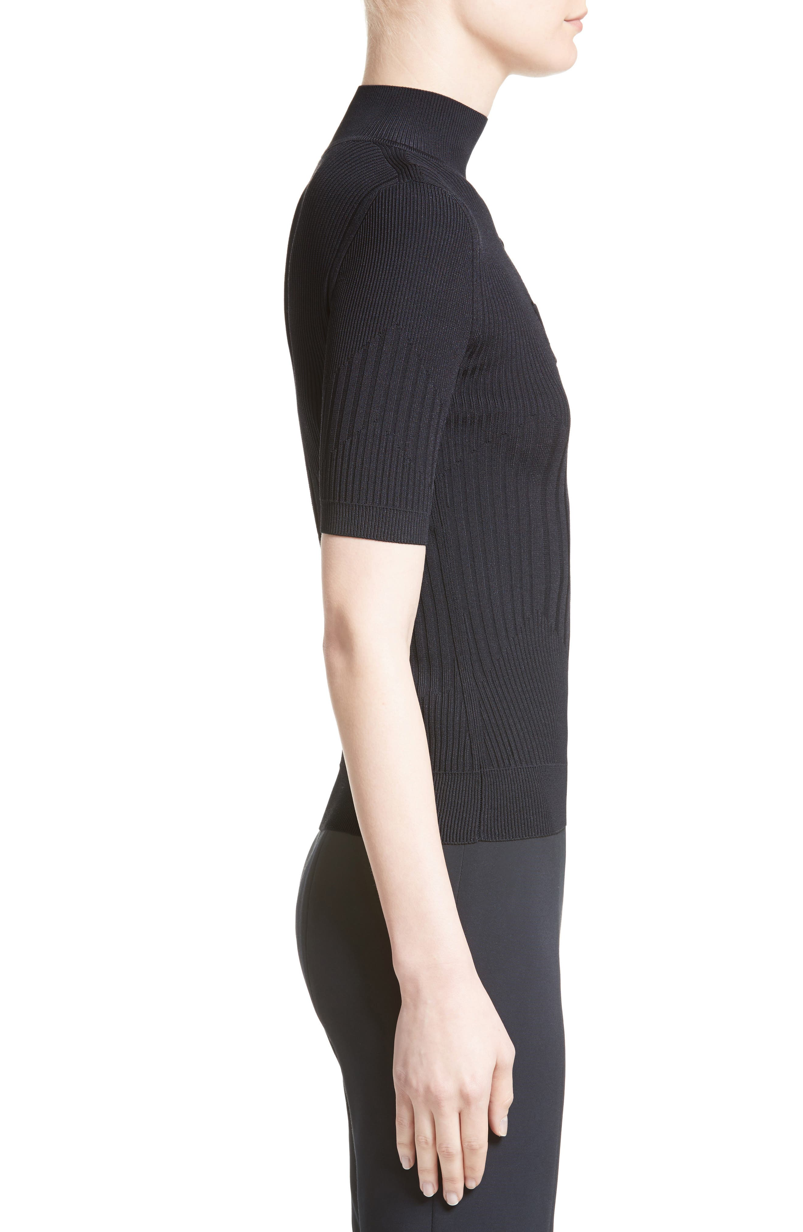 Strappy Cutout Mock Neck Top,                             Alternate thumbnail 3, color,                             Midnight