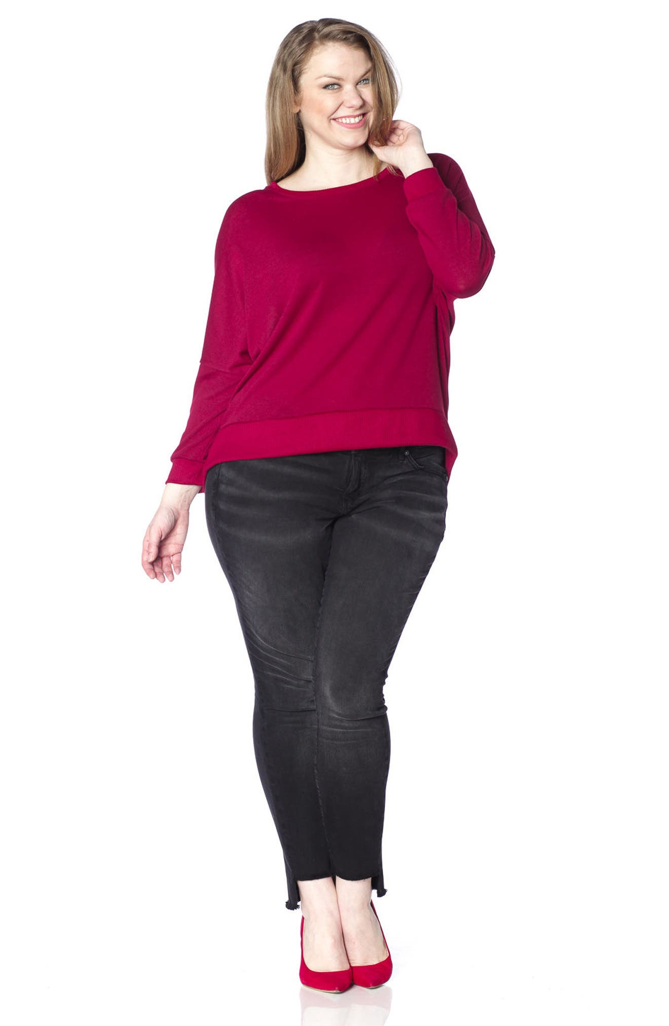 Dolman Sleeve Ribbed Pullover,                             Alternate thumbnail 4, color,                             Bordeaux