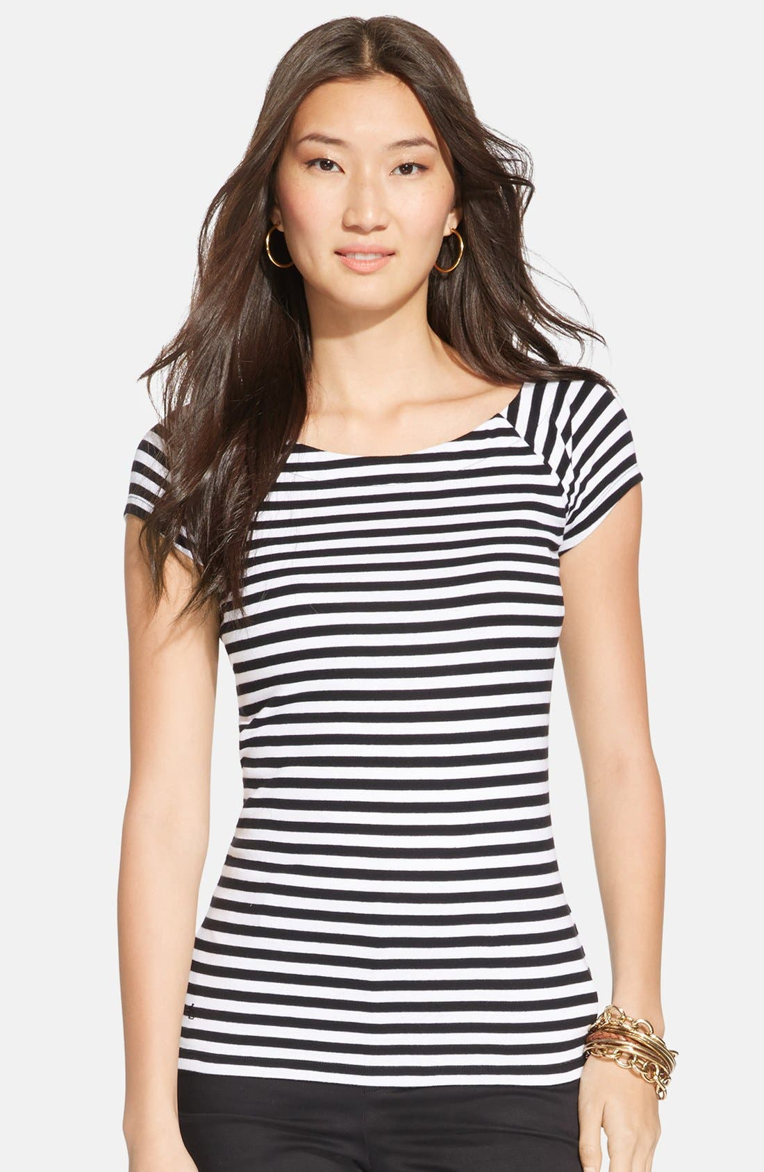 Main Image - Lauren Ralph Lauren Stripe Cap Sleeve Top (Regular & Petite)