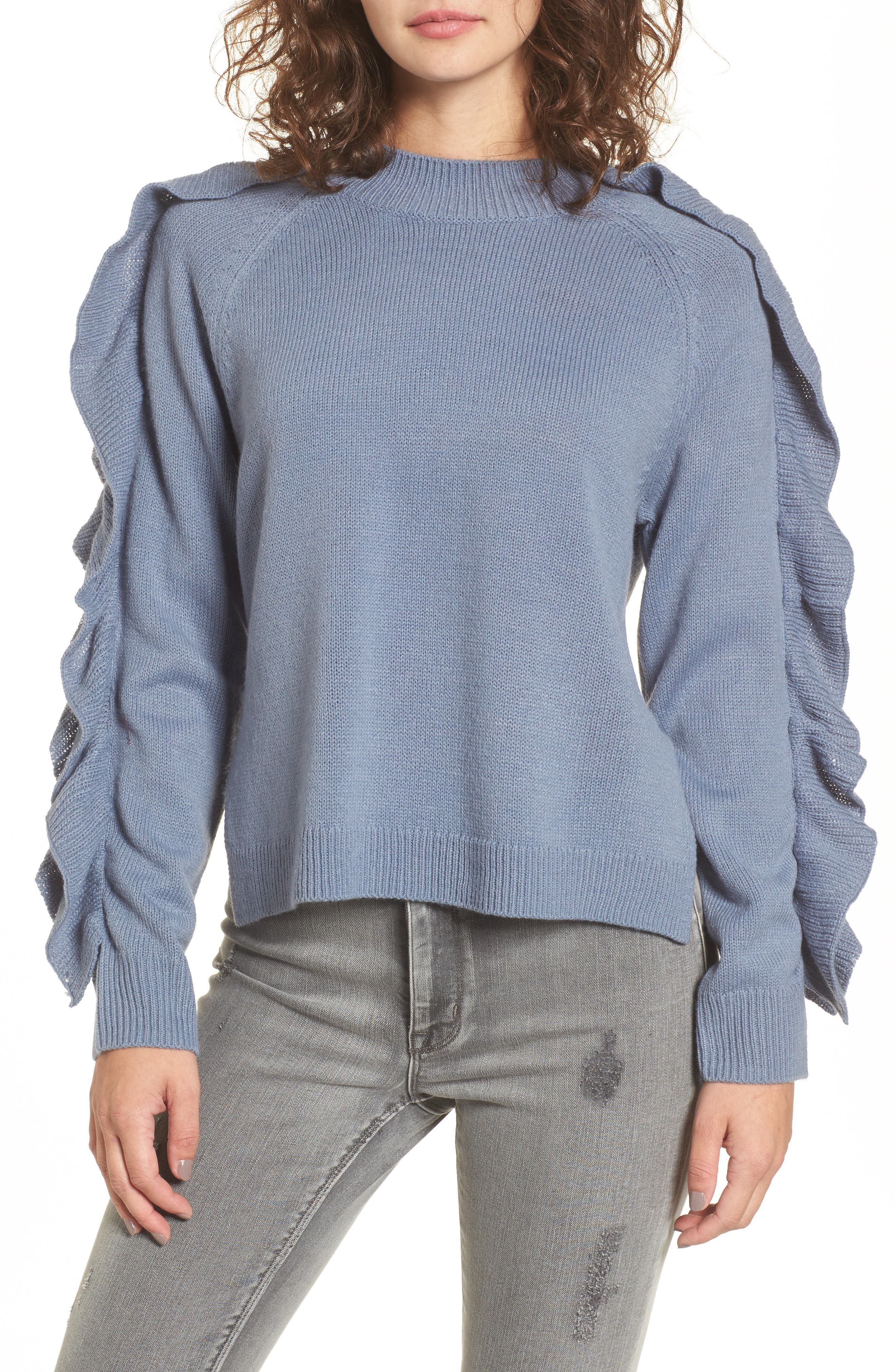 Imitation Pearl & Ruffle Trim Sweater,                             Main thumbnail 1, color,                             Blue Chip