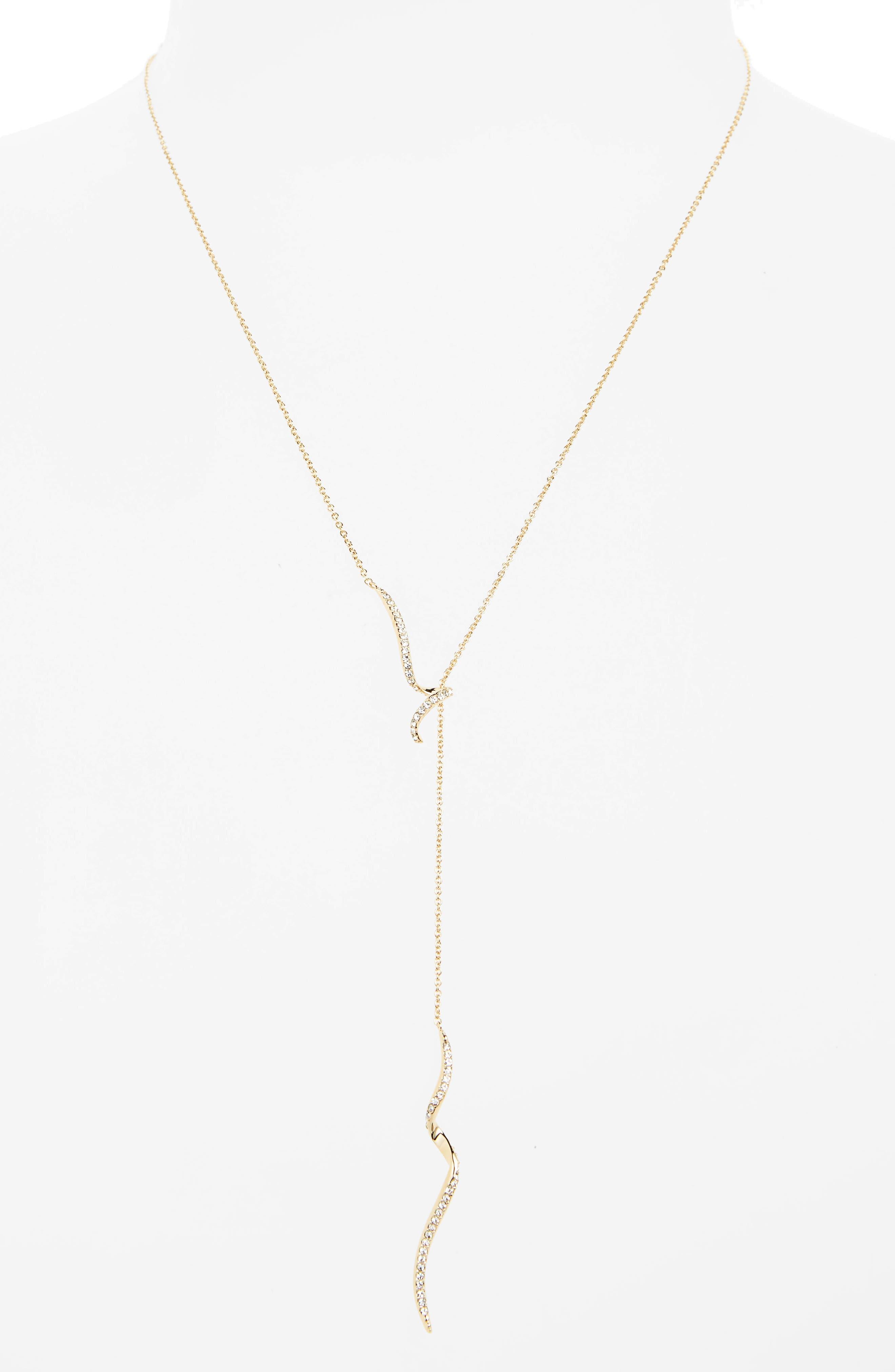 Citron Crystal Y-Necklace,                         Main,                         color, Gold