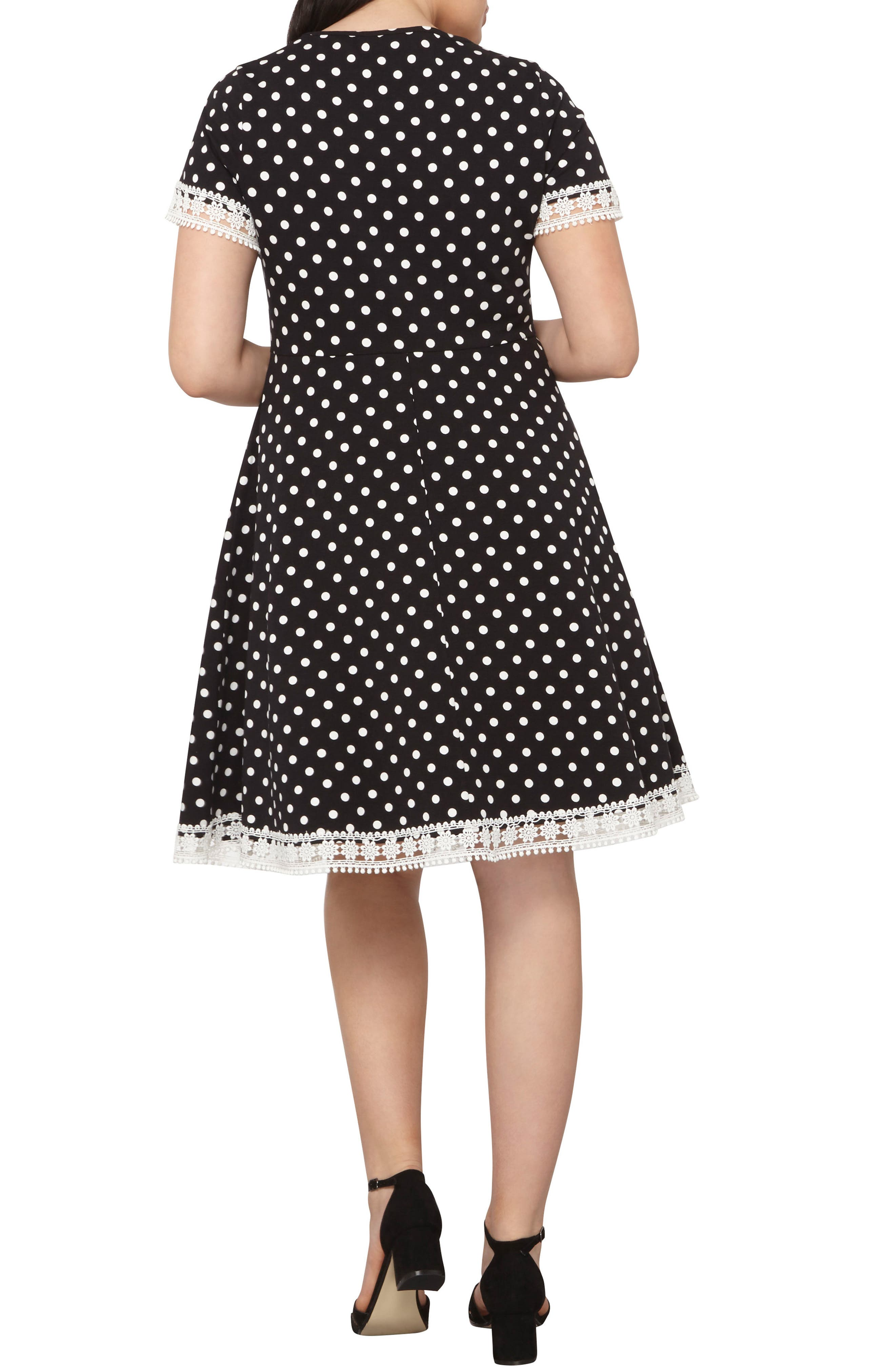 Alternate Image 2  - Dorothy Perkins Polka Dot Fit & Flare Dress (Plus Size)