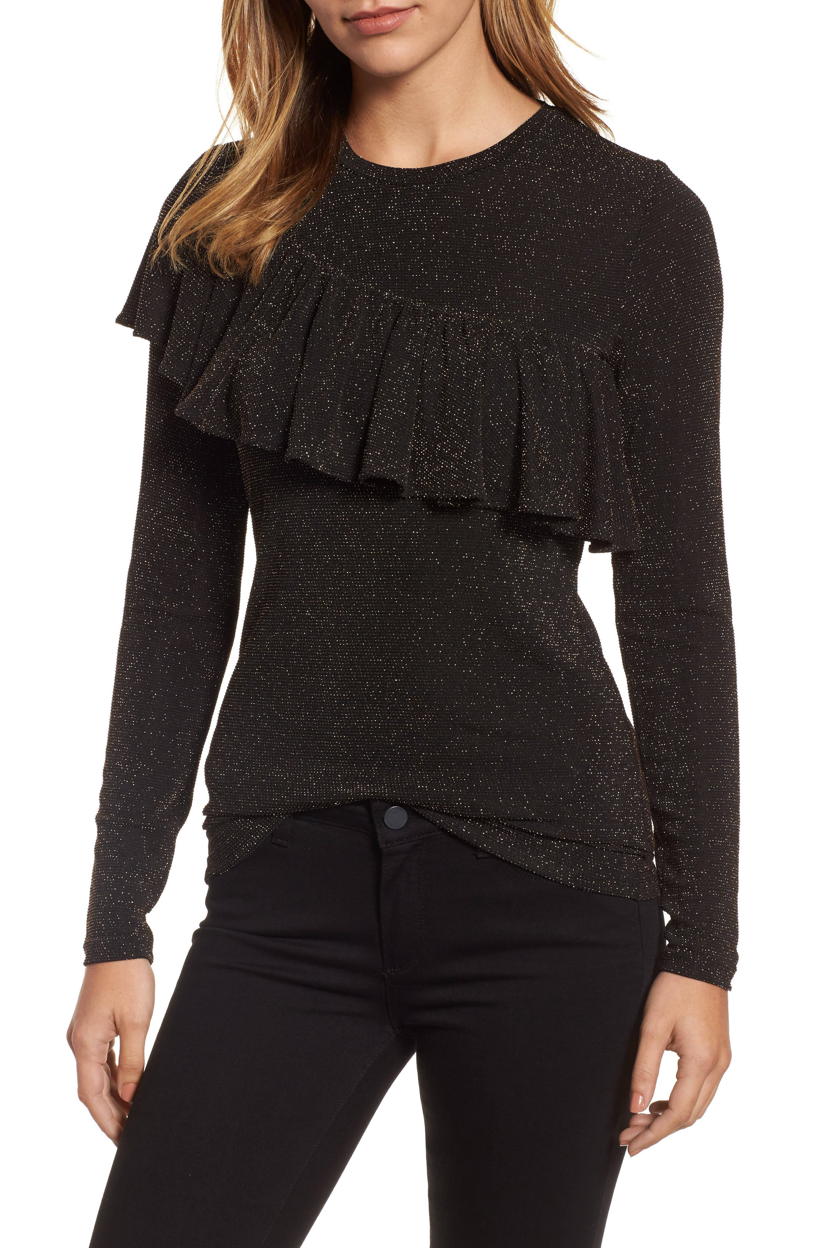 Metallic Ruffle Top,                             Main thumbnail 1, color,                             Black/ Silver