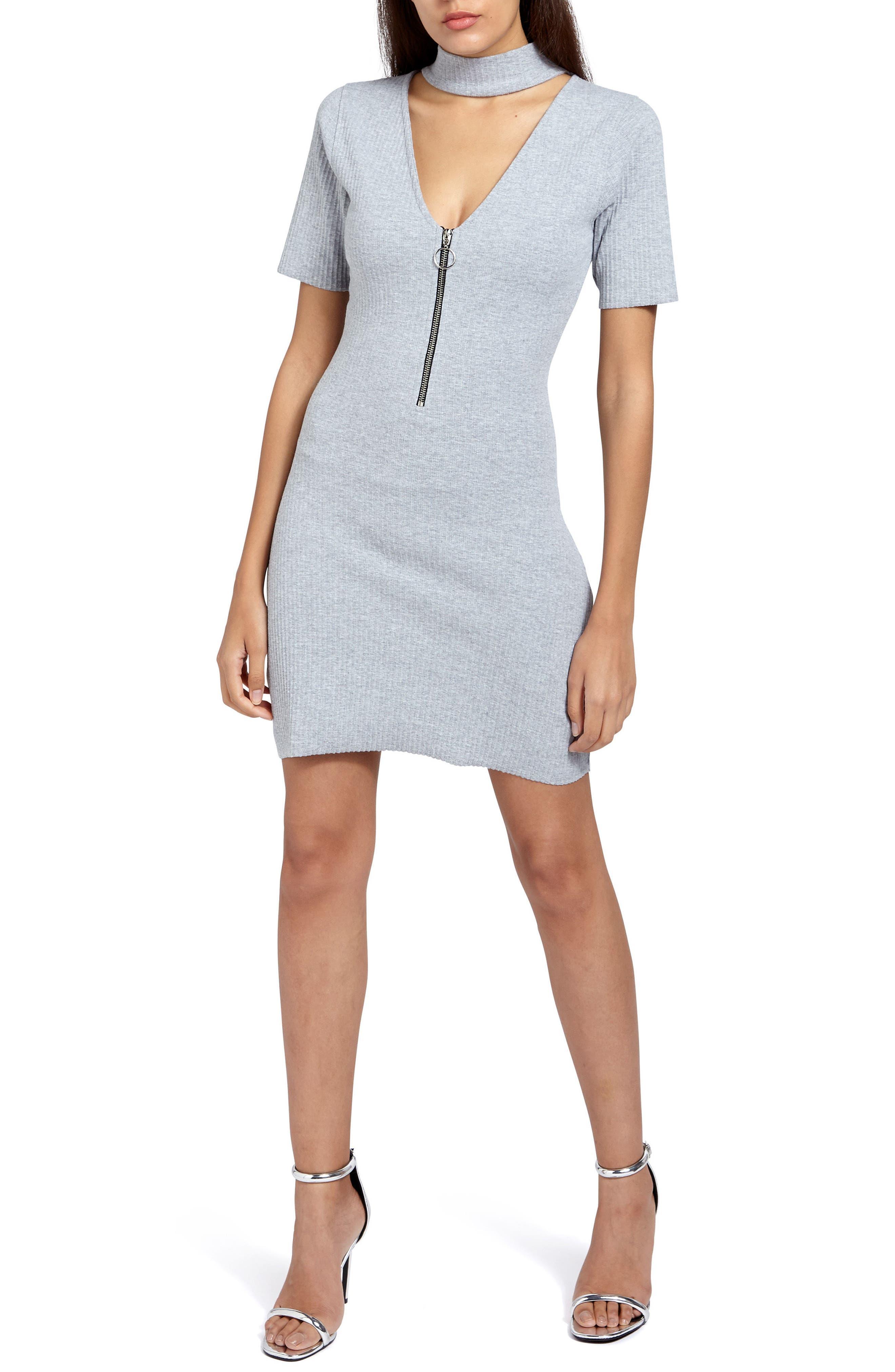 Choker Zip Body-Con Dress,                         Main,                         color, Grey